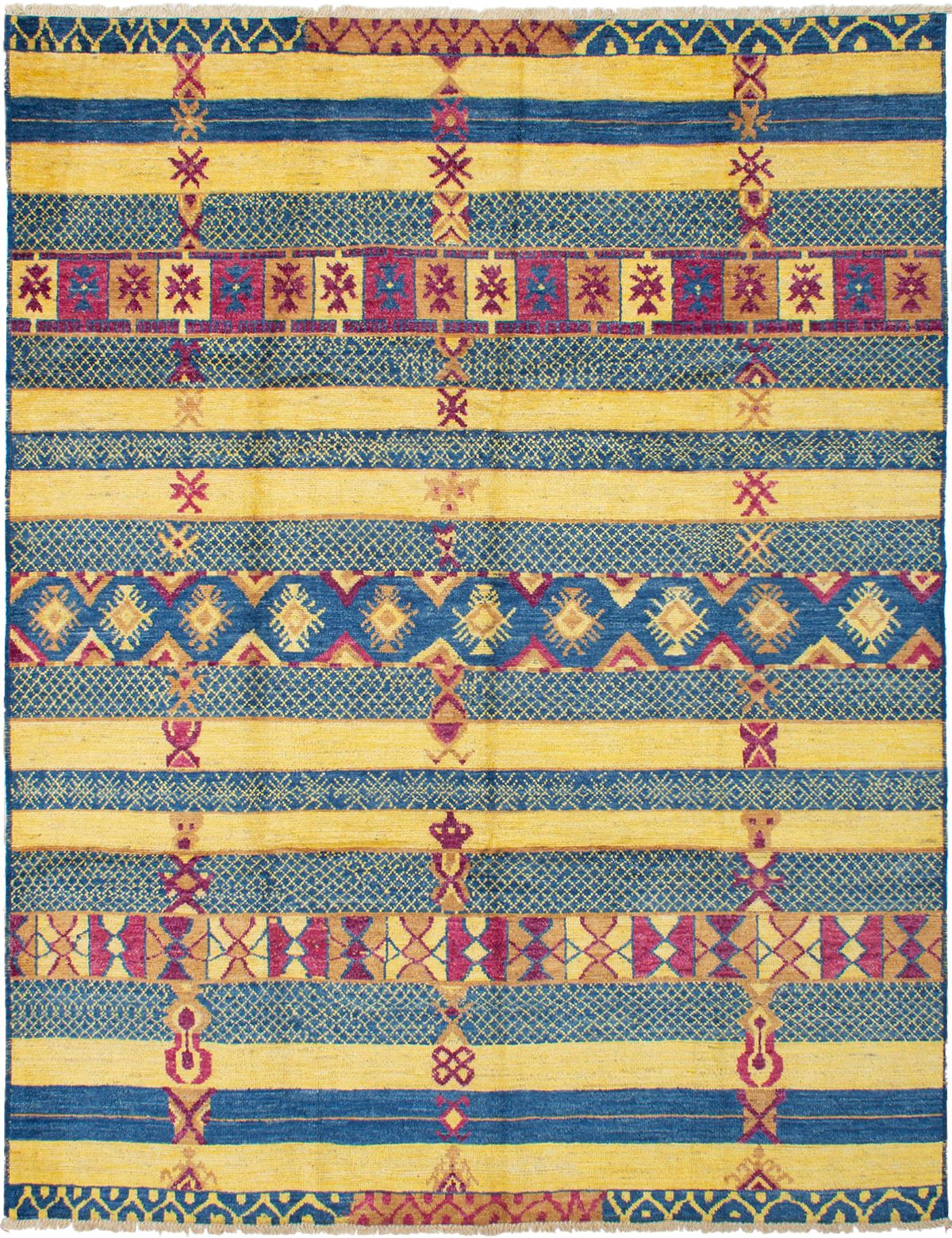 """Hand-knotted Shalimar Gold, Navy Blue Wool Rug 9'0"""" x 11'6"""" Size: 9'0"""" x 11'6"""""""