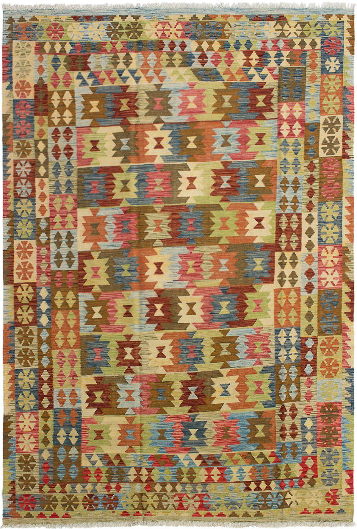 "Hand woven Hereke FW Light Blue , Light Red Wool Kilim 6'6"" x 10'1"" Size: 6'6"" x 10'1"""