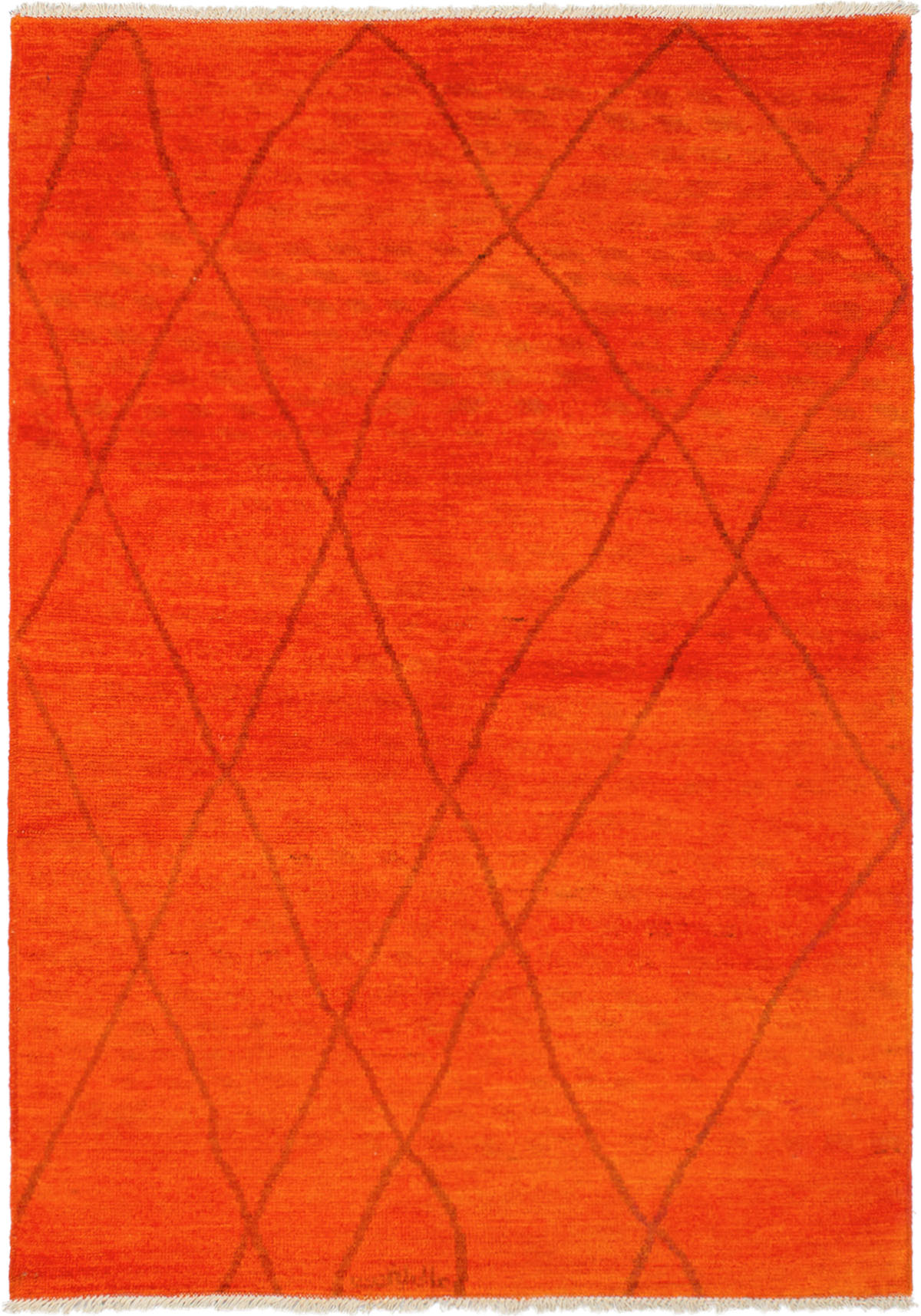 """Hand-knotted Vibrance Orange Wool Rug 6'4"""" x 9'0"""" Size: 6'4"""" x 9'0"""""""