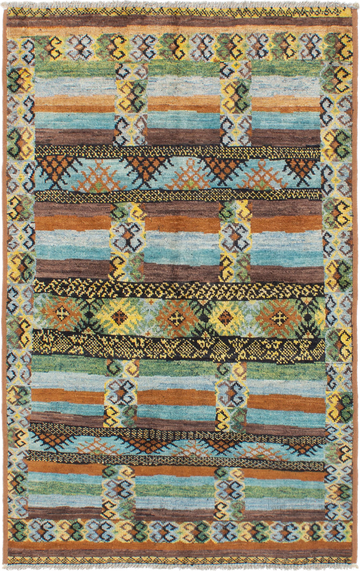 """Hand-knotted Shalimar Brown, Light Blue  Wool Rug 4'10"""" x 8'0"""" Size: 4'10"""" x 8'0"""""""