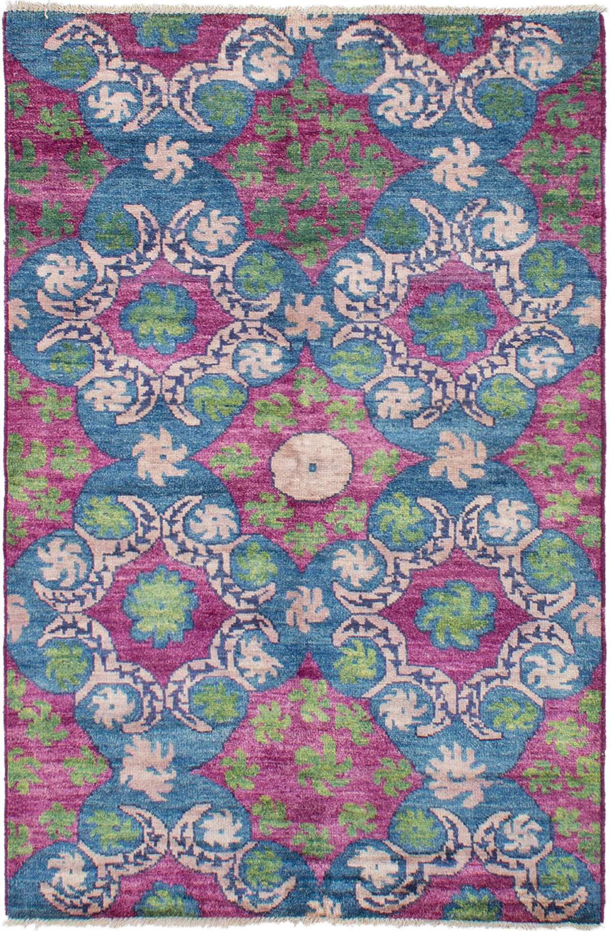 """Hand-knotted Shalimar Blue, Purple Wool Rug 5'3"""" x 8'1"""" Size: 5'3"""" x 8'1"""""""