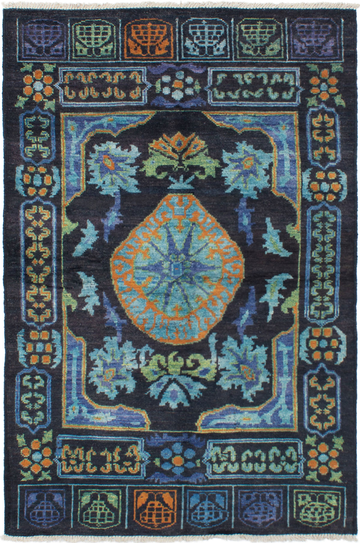 """Hand-knotted Shalimar Black, Light Blue  Wool Rug 5'4"""" x 8'5"""" Size: 5'4"""" x 8'5"""""""