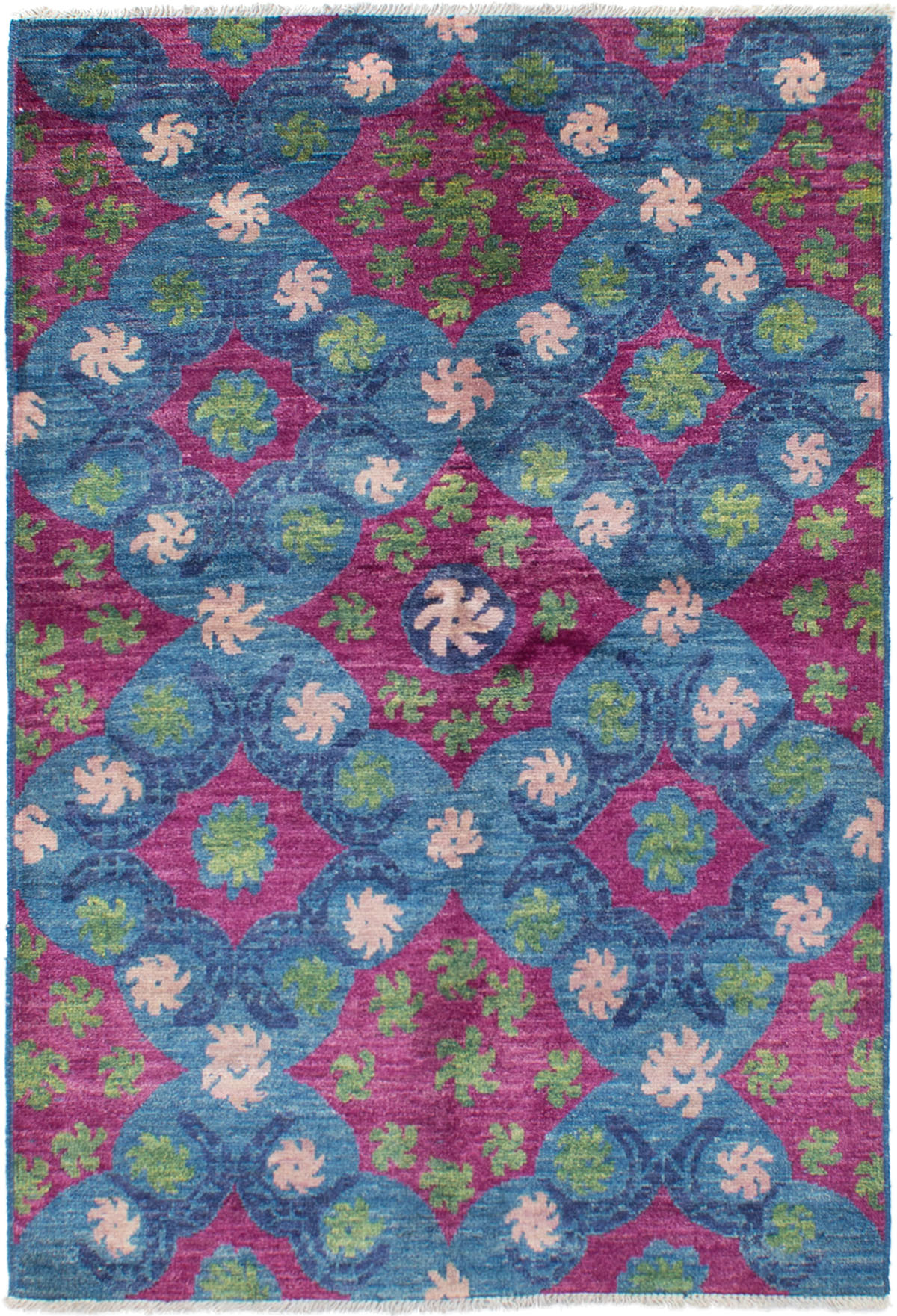 """Hand-knotted Shalimar Blue, Burgundy Wool Rug 5'4"""" x 7'10"""" Size: 5'4"""" x 7'10"""""""