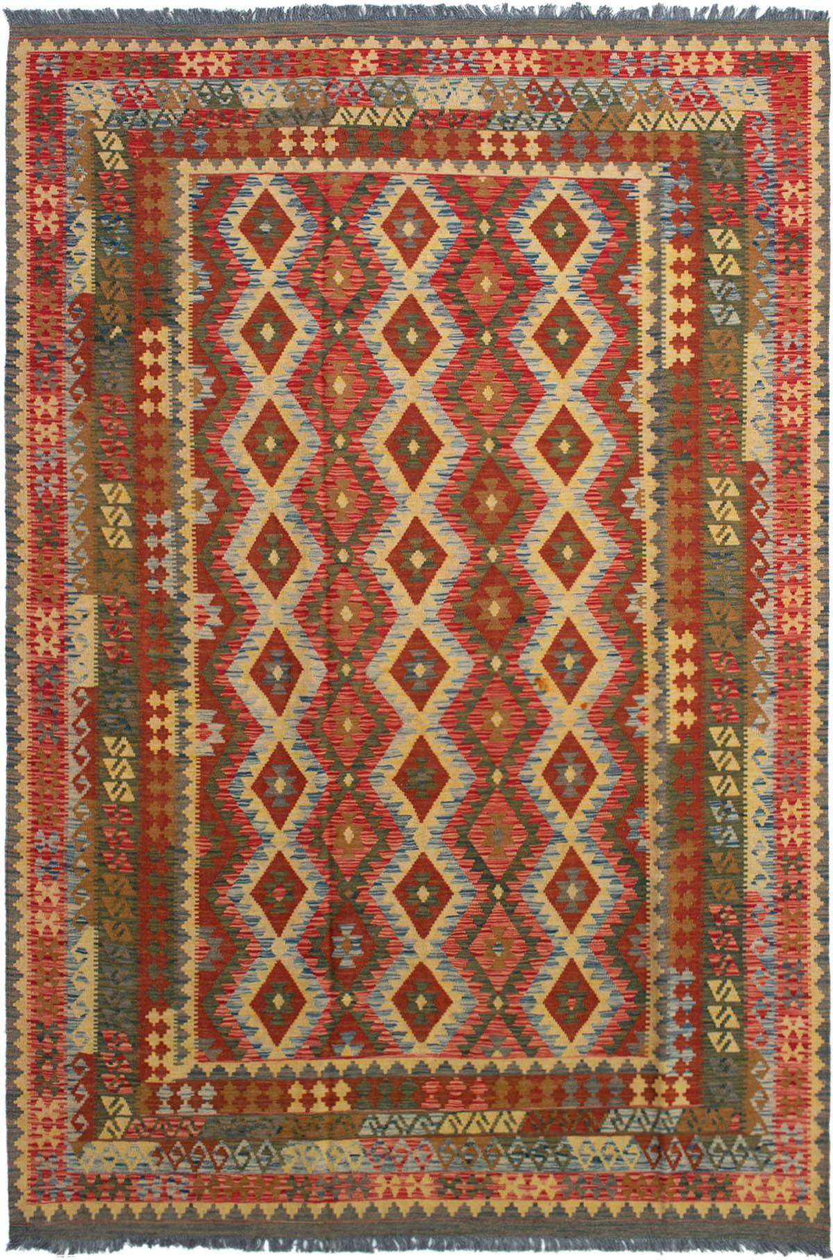 "Hand woven Kashkoli FW Red Wool Kilim 6'8"" x 10'0"" Size: 6'8"" x 10'0"""
