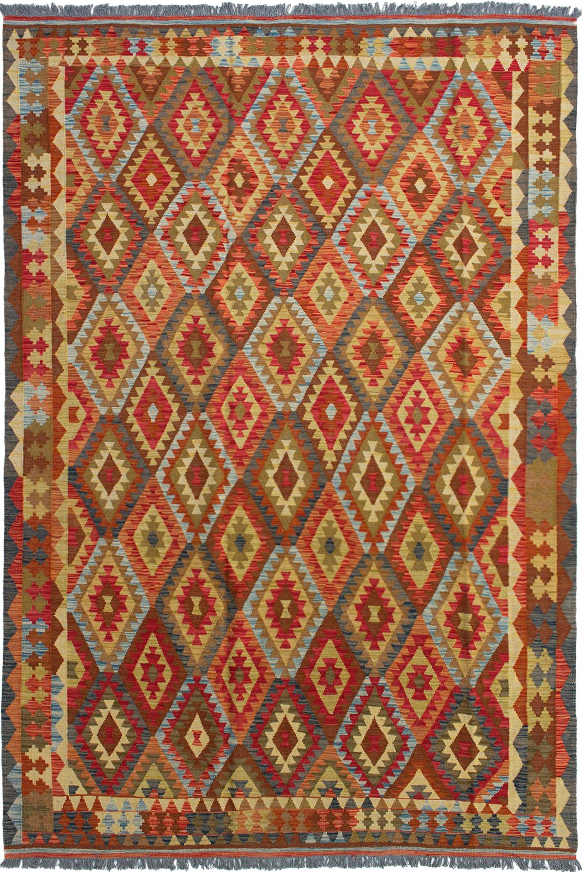 "Hand woven Kashkoli FW Red Wool Kilim 6'7"" x 10'2"" Size: 6'7"" x 10'2"""