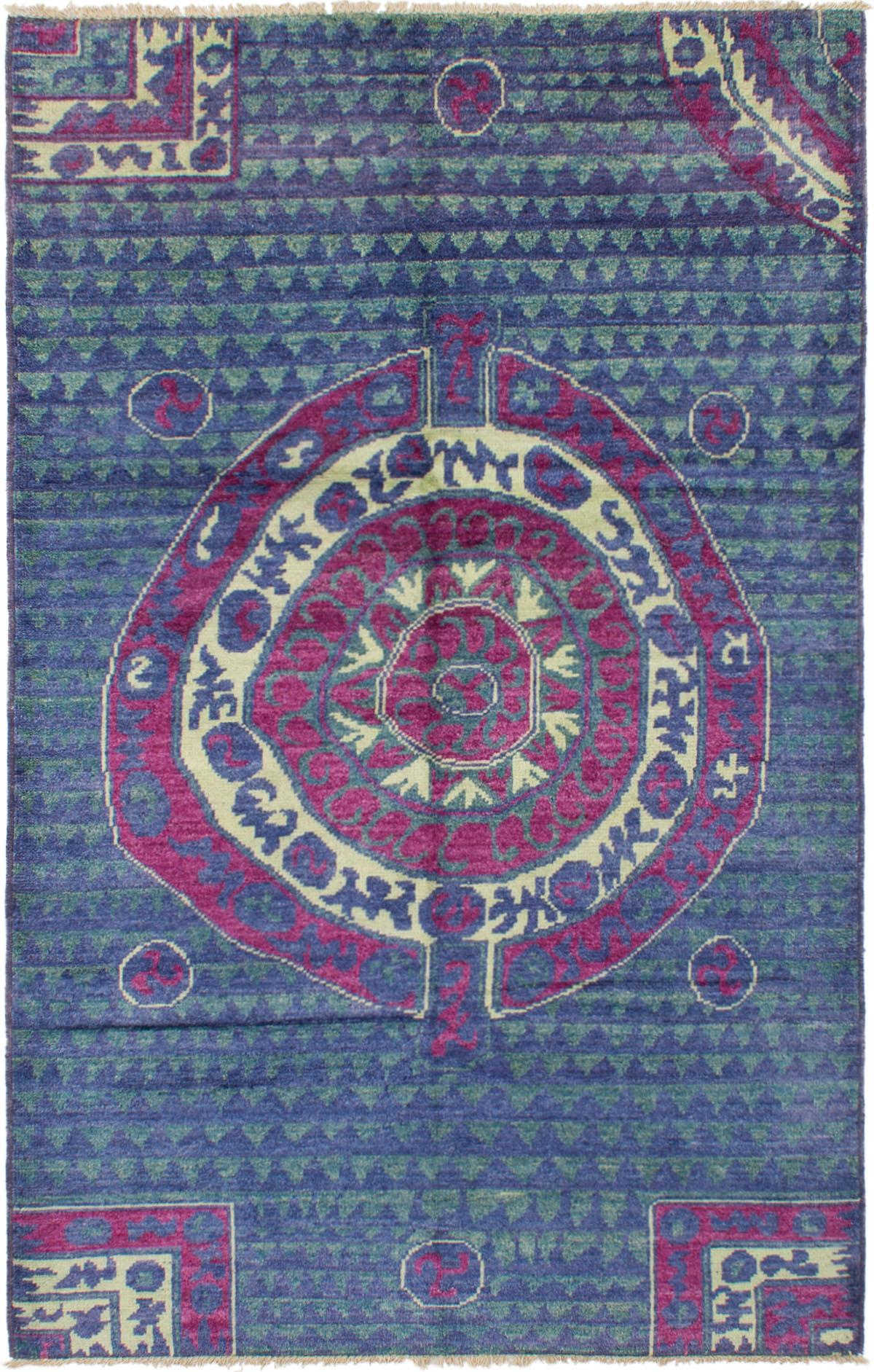 "Hand-knotted Shalimar Burgundy, Dark Blue Wool Rug 6'2"" x 9'8"" Size: 6'2"" x 9'8"""