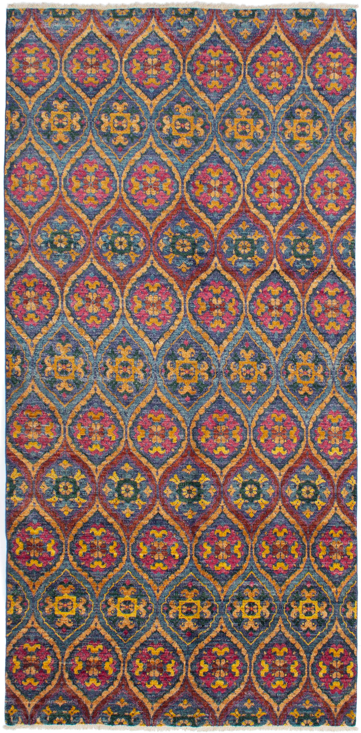 """Hand-knotted Shalimar Burgundy, Navy Blue Wool Rug 6'0"""" x 12'4"""" Size: 6'0"""" x 12'4"""""""