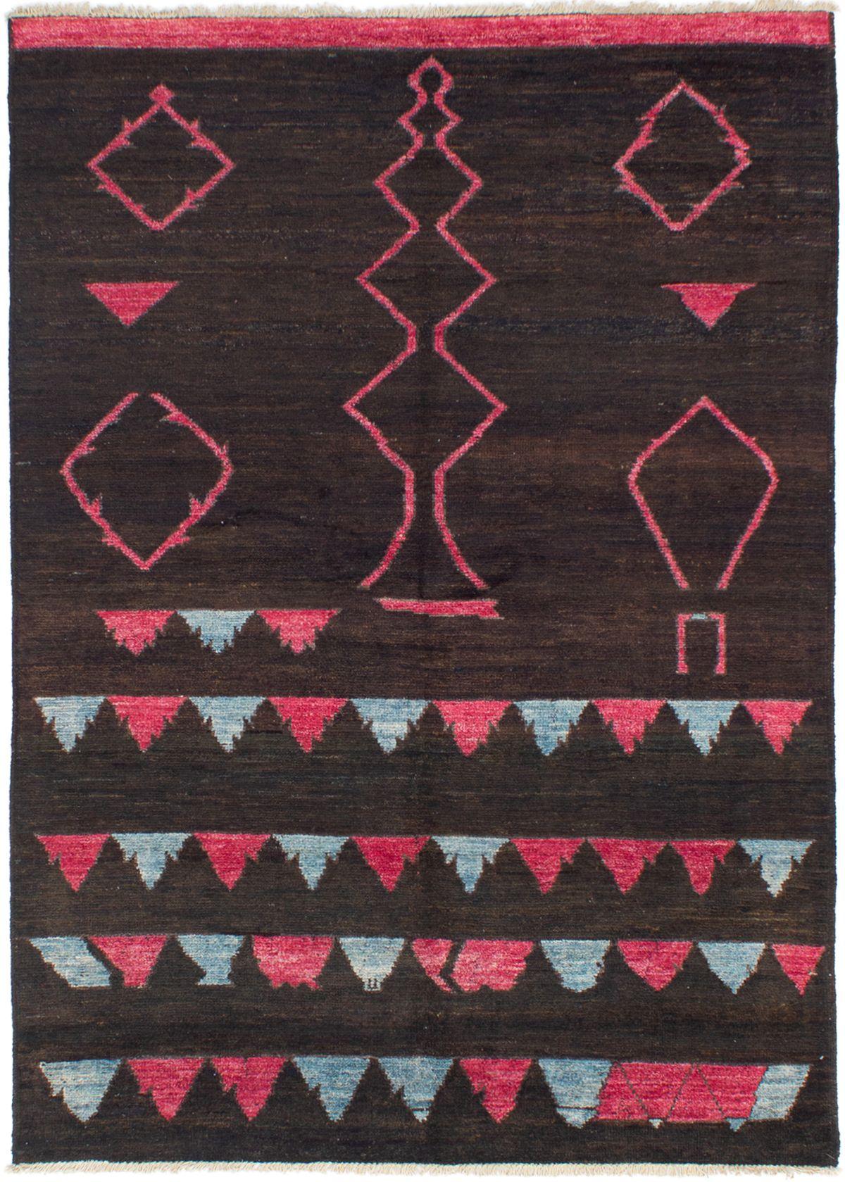 "Hand-knotted Shalimar Dark Brown Wool Rug 6'1"" x 8'8""  Size: 6'1"" x 8'8"""
