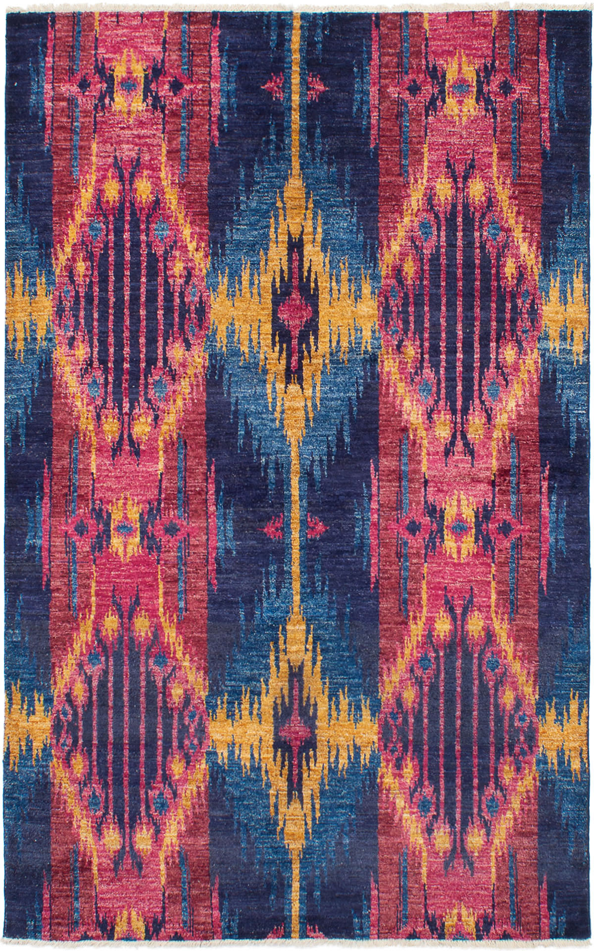 """Hand-knotted Shalimar Dark Navy, Red Wool Rug 6'0"""" x 9'6"""" Size: 6'0"""" x 9'6"""""""