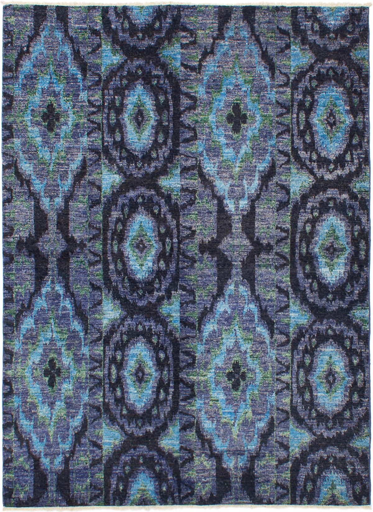 "Hand-knotted Shalimar Black, Slate Blue Wool Rug 6'0"" x 8'3"" Size: 6'0"" x 8'3"""