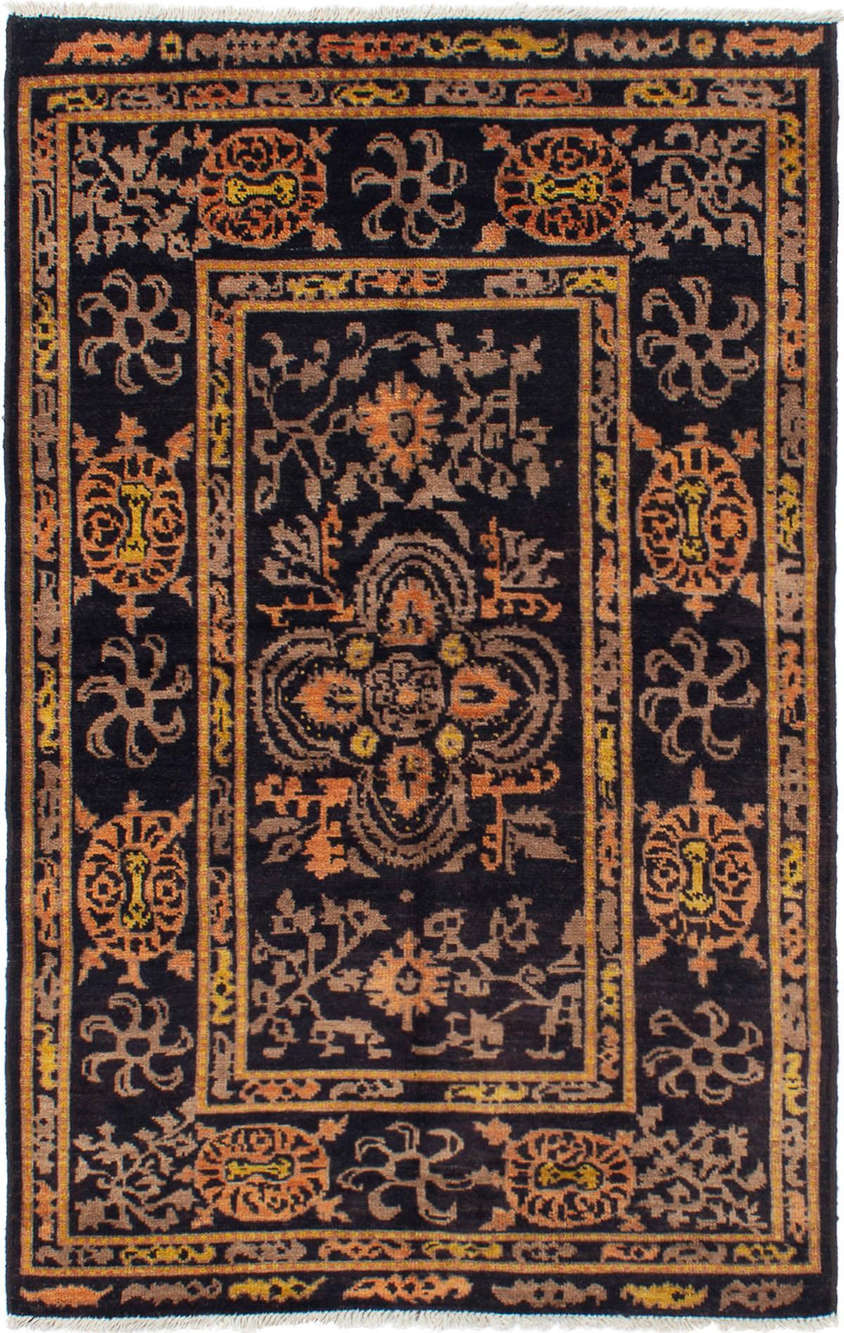 "Hand-knotted Shalimar Black, Orange Wool Rug 5'6"" x 8'4"" Size: 5'6"" x 8'4"""