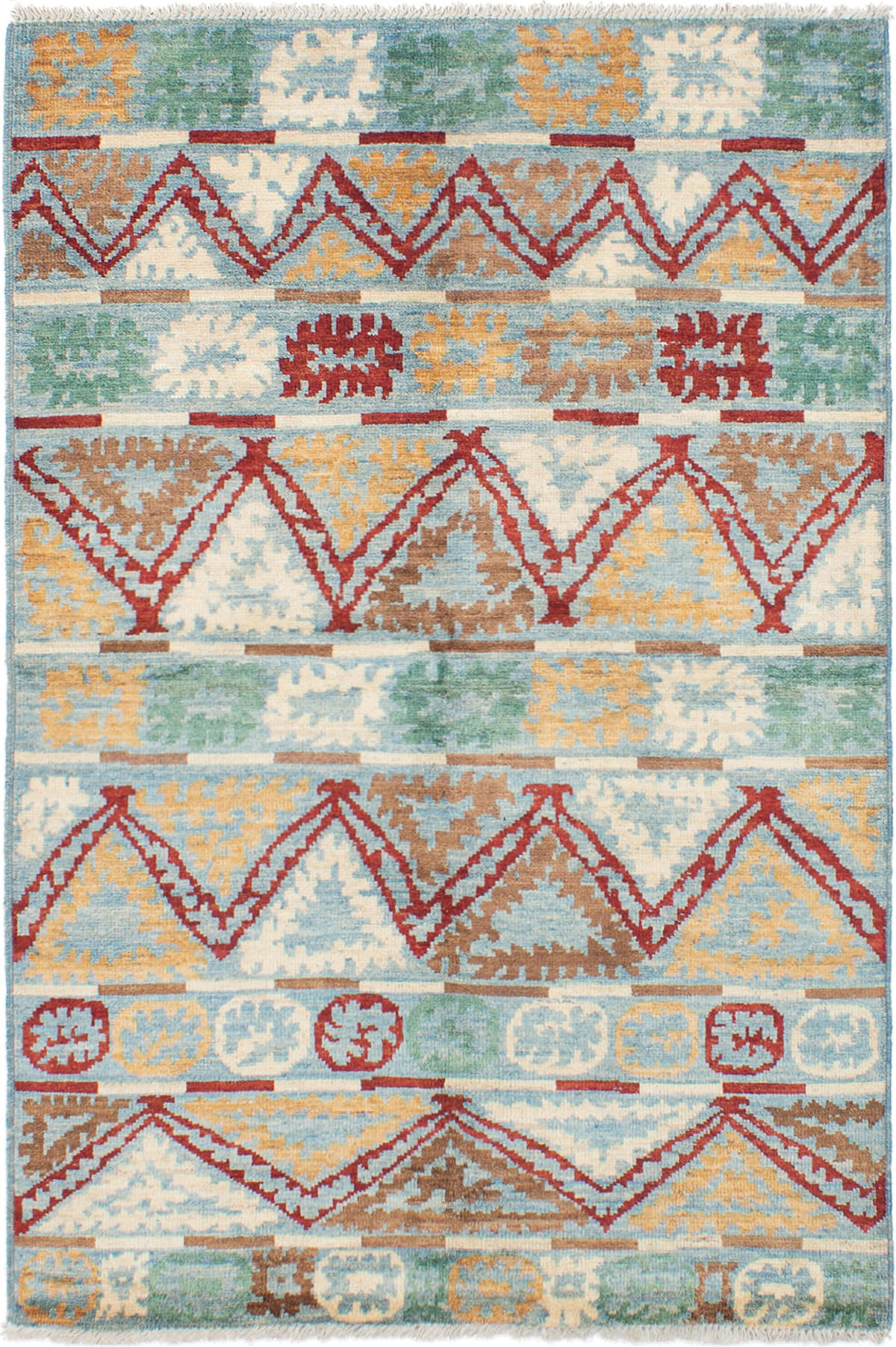 """Hand-knotted Shalimar Dark Red, Light Blue  Wool Rug 5'7"""" x 8'2"""" Size: 5'7"""" x 8'2"""""""