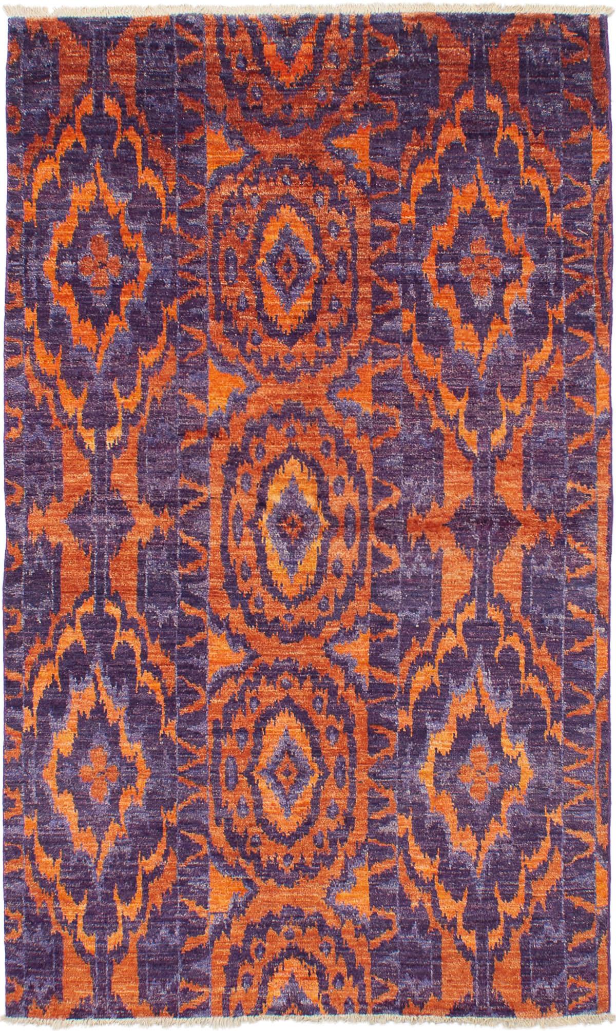 "Hand-knotted Shalimar Orange, Purple Wool Rug 5'0"" x 8'3"" Size: 5'0"" x 8'3"""