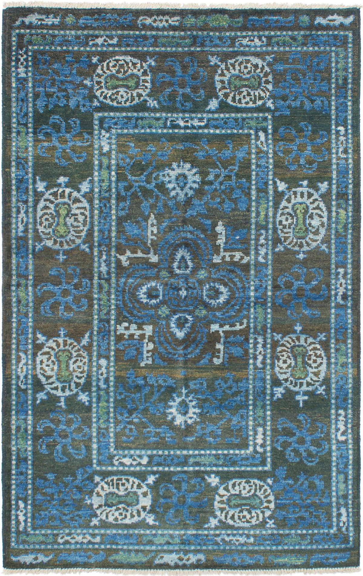 """Hand-knotted Shalimar Dark Brown, Slate Blue Wool Rug 5'0"""" x 8'0"""" Size: 5'0"""" x 8'0"""""""