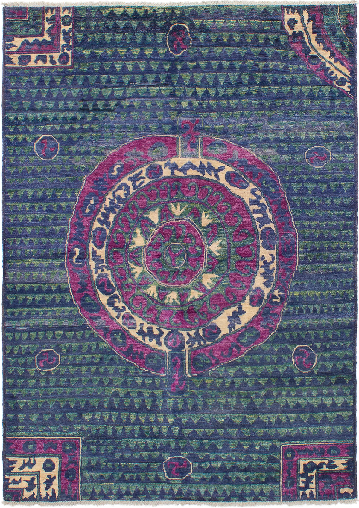 """Hand-knotted Shalimar Navy Blue Wool Rug 6'2"""" x 8'9""""  Size: 6'2"""" x 8'9"""""""