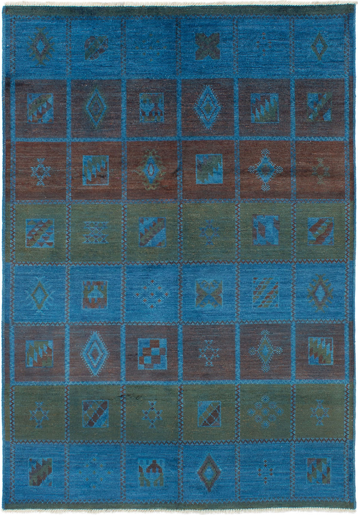 """Hand-knotted Vibrance Blue Wool Rug 6'4"""" x 9'0"""" Size: 6'4"""" x 9'0"""""""