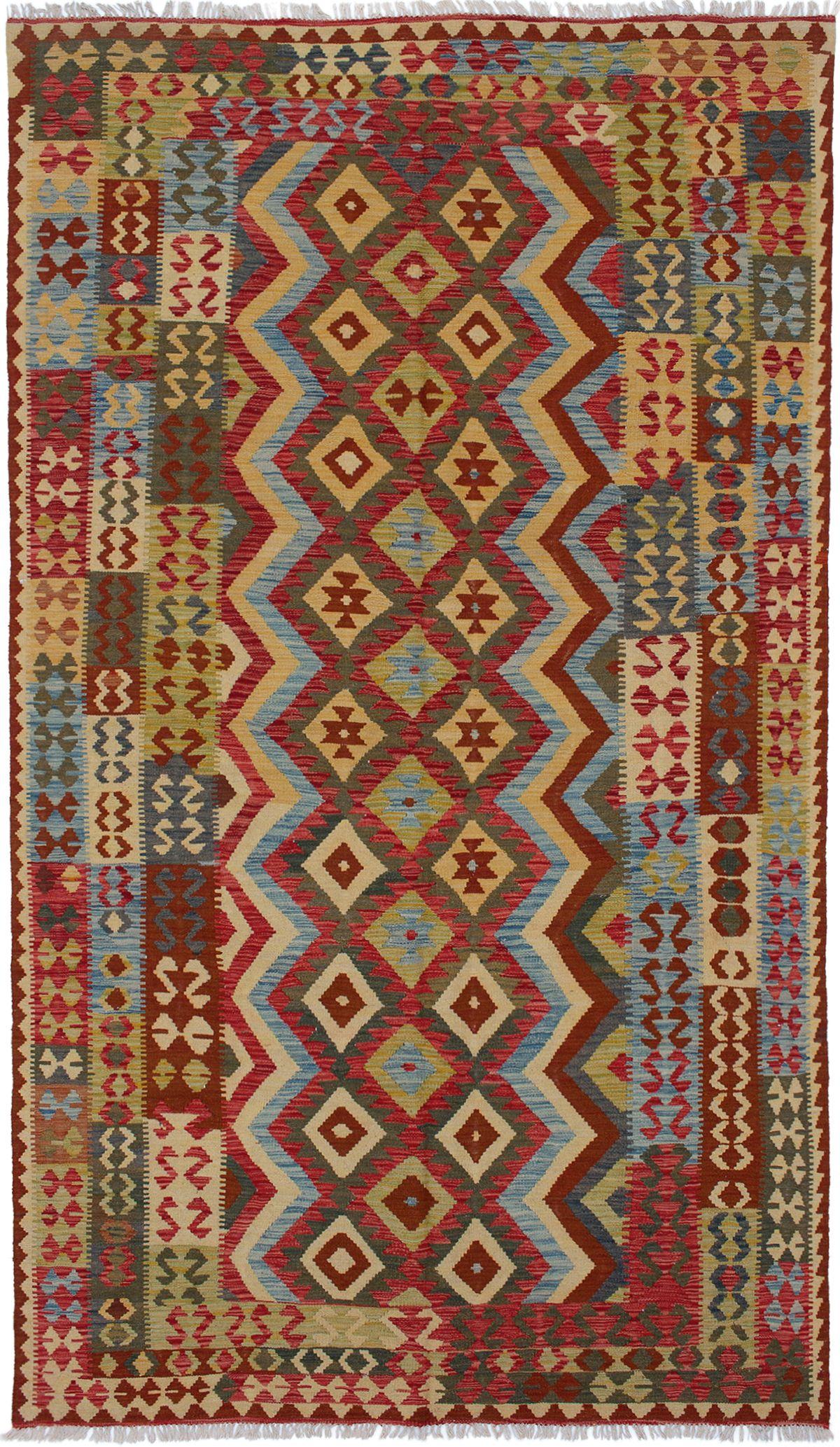 "Hand woven Kashkoli FW Red Wool Kilim 6'2"" x 10'11"" Size: 6'2"" x 10'11"""