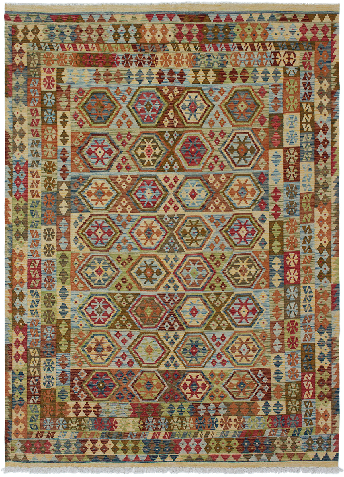 "Hand woven Sivas Light Blue , Red Wool Kilim 6'10"" x 9'10"" Size: 6'10"" x 9'10"""