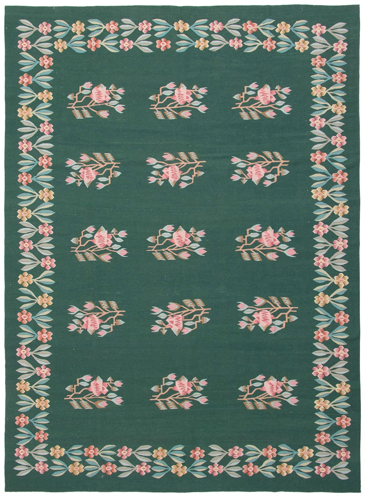 "Hand woven Gaia dhurrie Dark Green Wool Kilim 8'3"" x 11'6"" Size: 8'3"" x 11'6"""