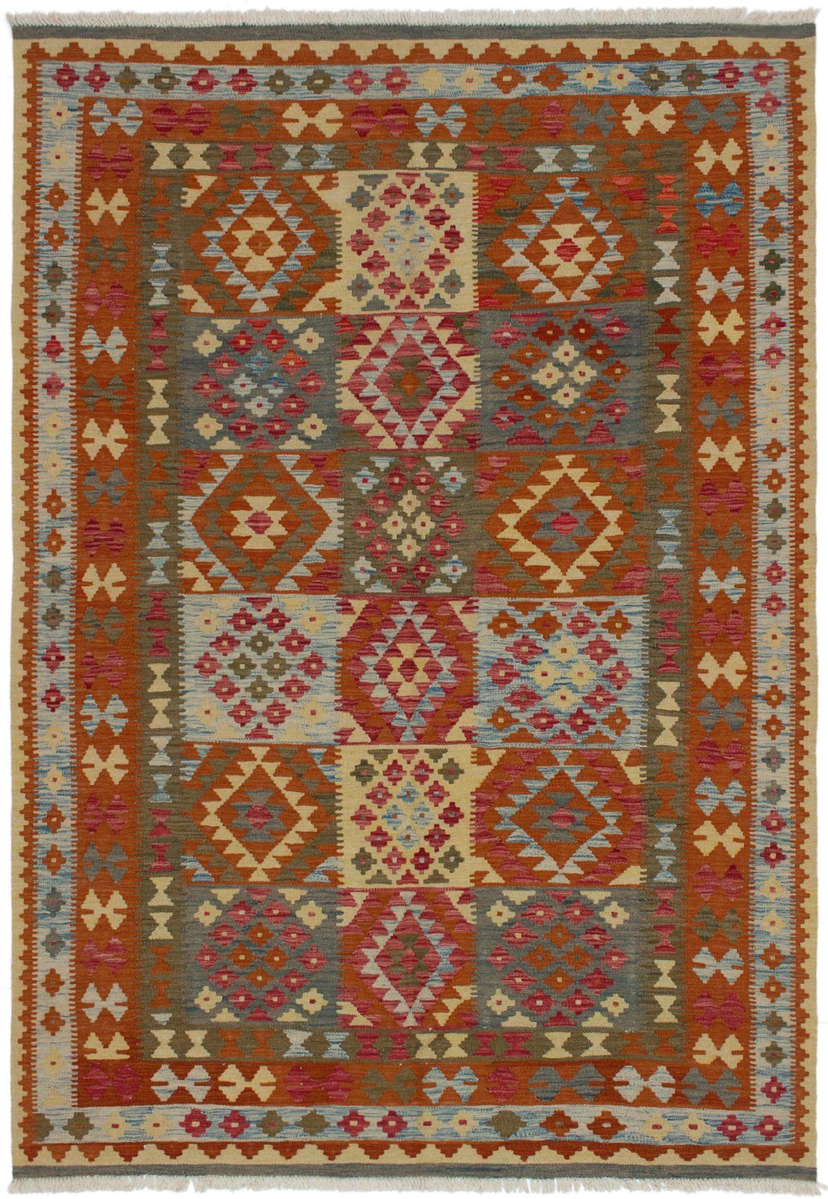 "Hand woven Kashkoli FW Burnt Orange Wool Kilim 6'6"" x 9'8"" Size: 6'6"" x 9'8"""