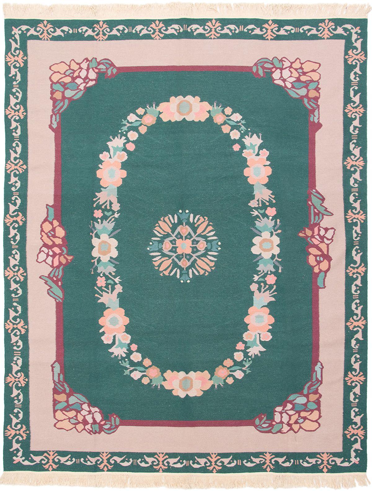 "Hand woven Royale Dark Green Wool Kilim 8'0"" x 10'0"" Size: 8'0"" x 10'0"""