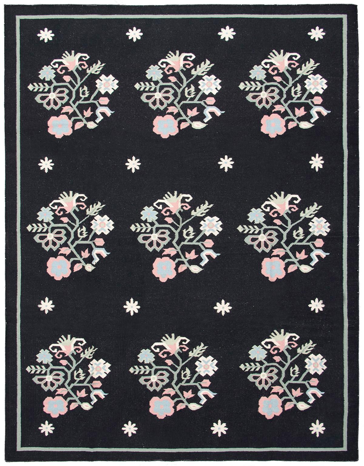 "Hand woven Gaia dhurrie Black Wool Kilim 9'0"" x 12'0"" Size: 9'0"" x 12'0"""
