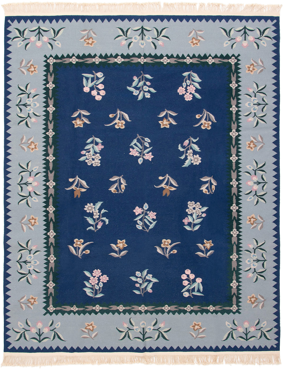 """Hand woven Royale Navy Blue Wool Kilim 8'0"""" x 10'0"""" Size: 8'0"""" x 10'0"""""""