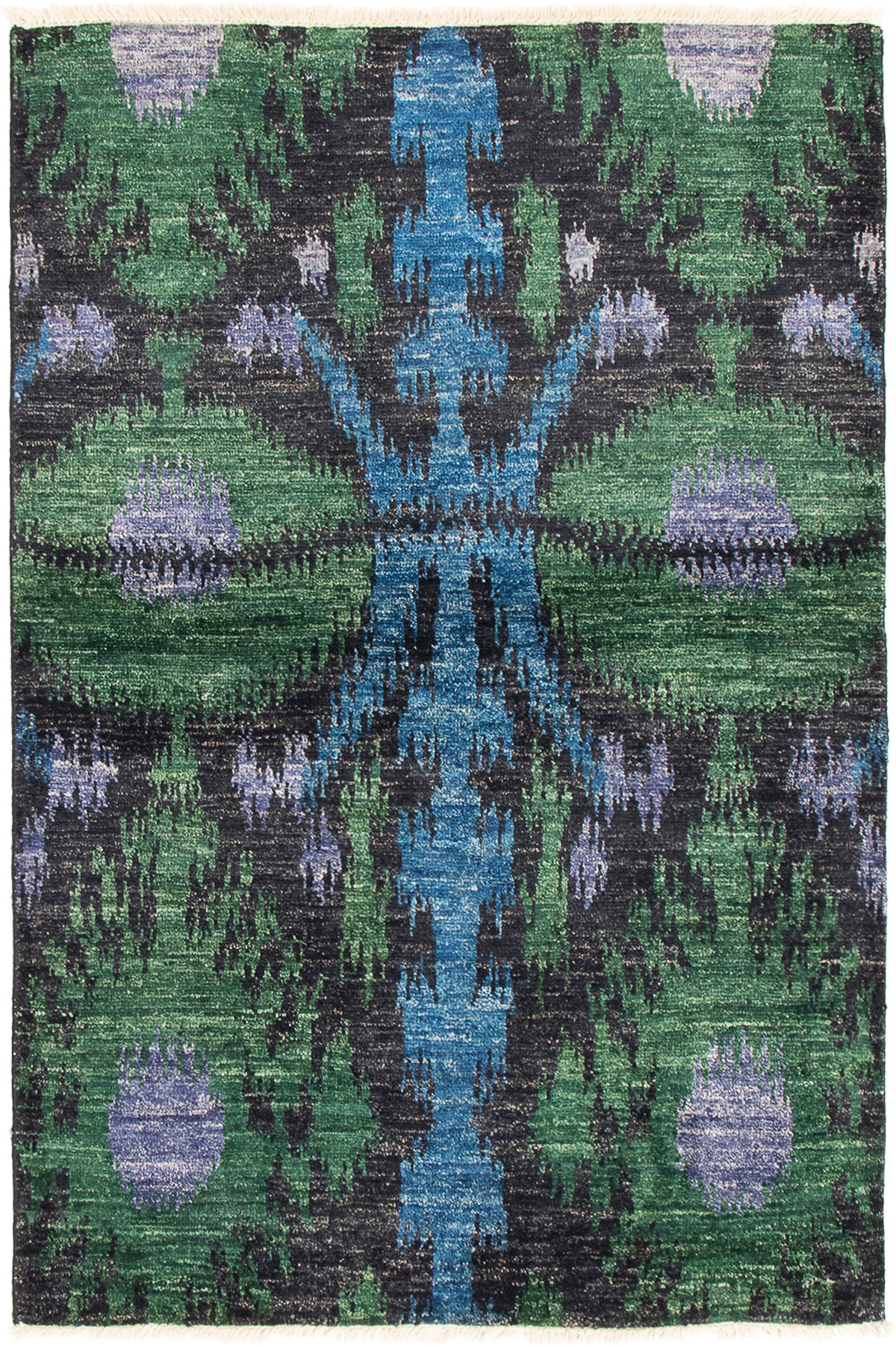 """Hand-knotted Shalimar Black, Green Wool Rug 4'0"""" x 6'1"""" Size: 4'0"""" x 6'1"""""""