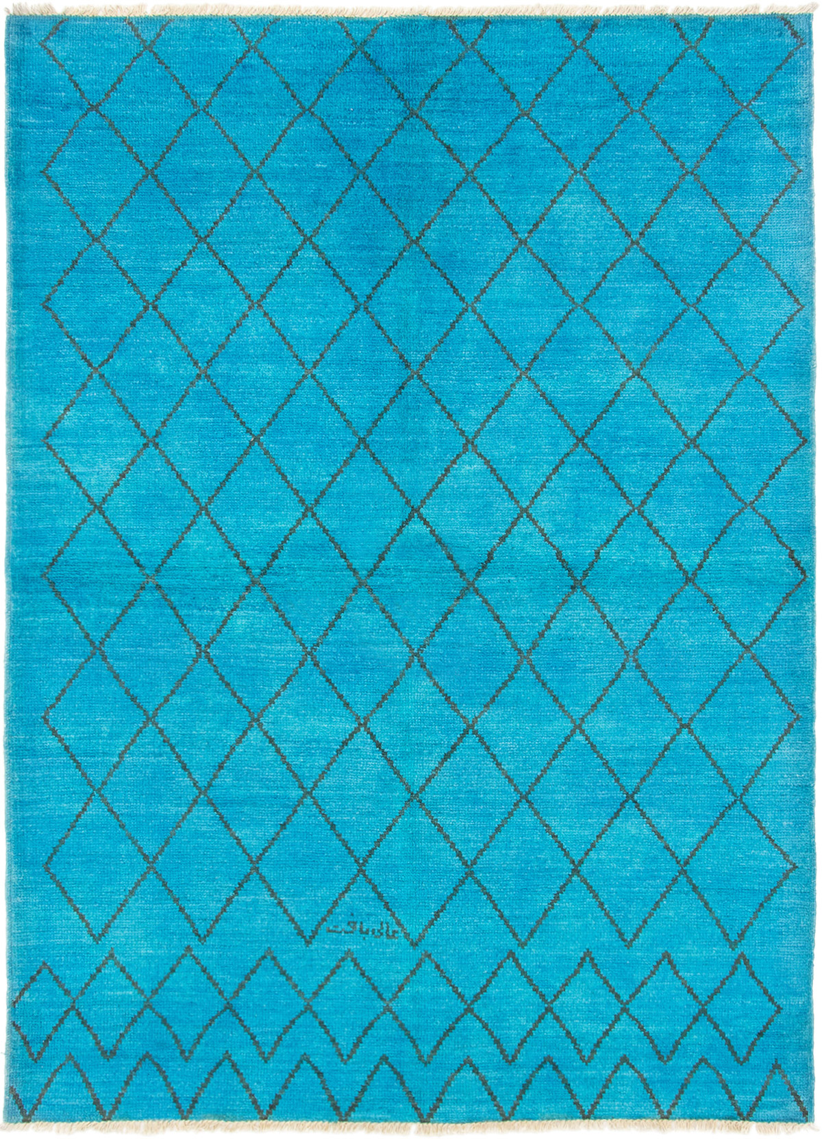 """Hand-knotted Vibrance Sky Blue Wool Rug 6'4"""" x 9'0"""" Size: 6'4"""" x 9'0"""""""