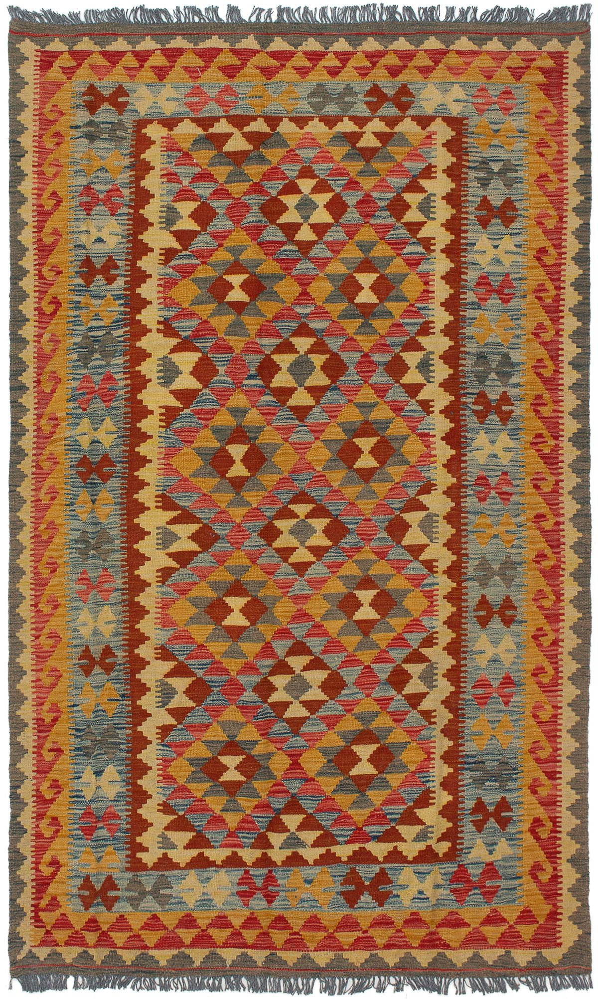 "Hand woven Kashkoli FW Light Orange, Red Wool Kilim 4'11"" x 8'4"" Size: 4'11"" x 8'4"""
