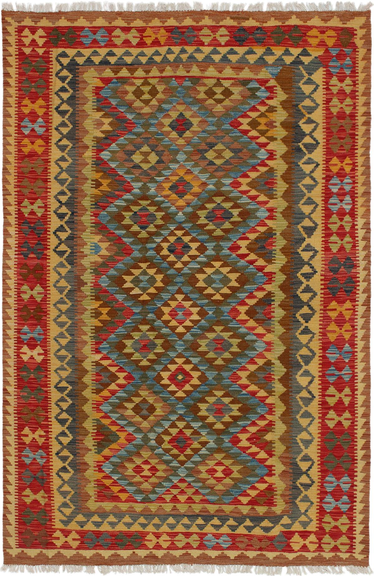"Hand woven Hereke FW Red, Sky Blue Wool Kilim 5'2"" x 8'0"" Size: 5'2"" x 8'0"""