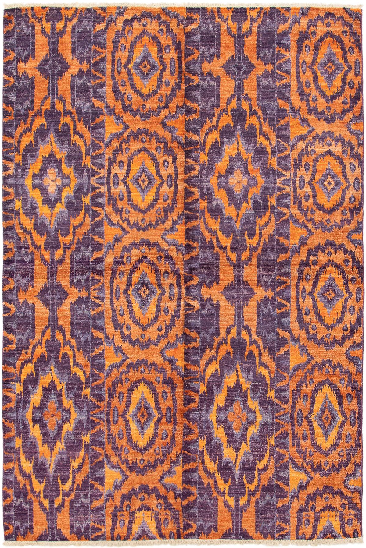 "Hand-knotted Shalimar Orange, Purple Wool Rug 6'0"" x 9'2"" Size: 6'0"" x 9'2"""