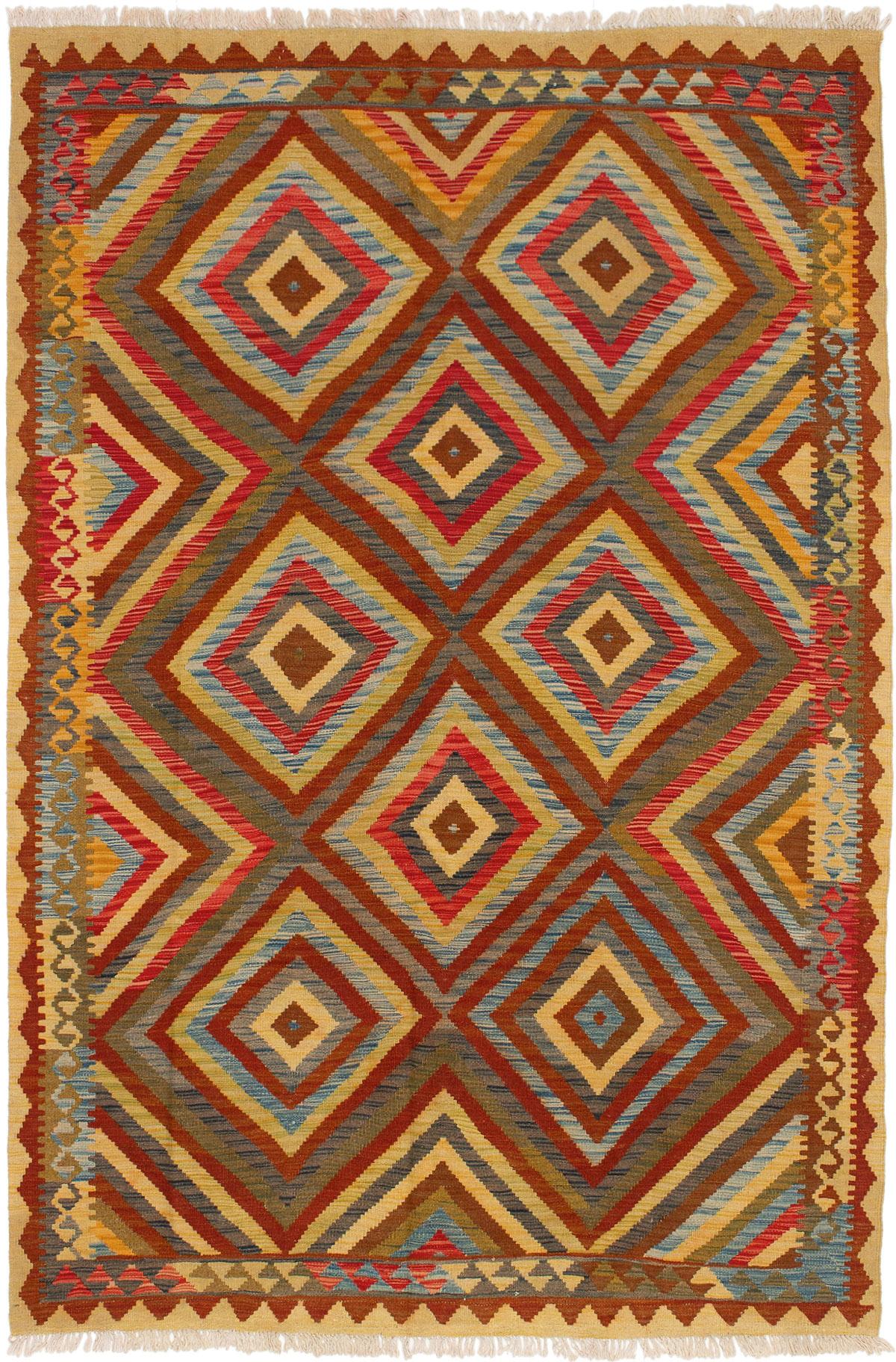 "Hand woven Hereke FW Red, Sky Blue Wool Kilim 5'6"" x 8'3"" Size: 5'6"" x 8'3"""