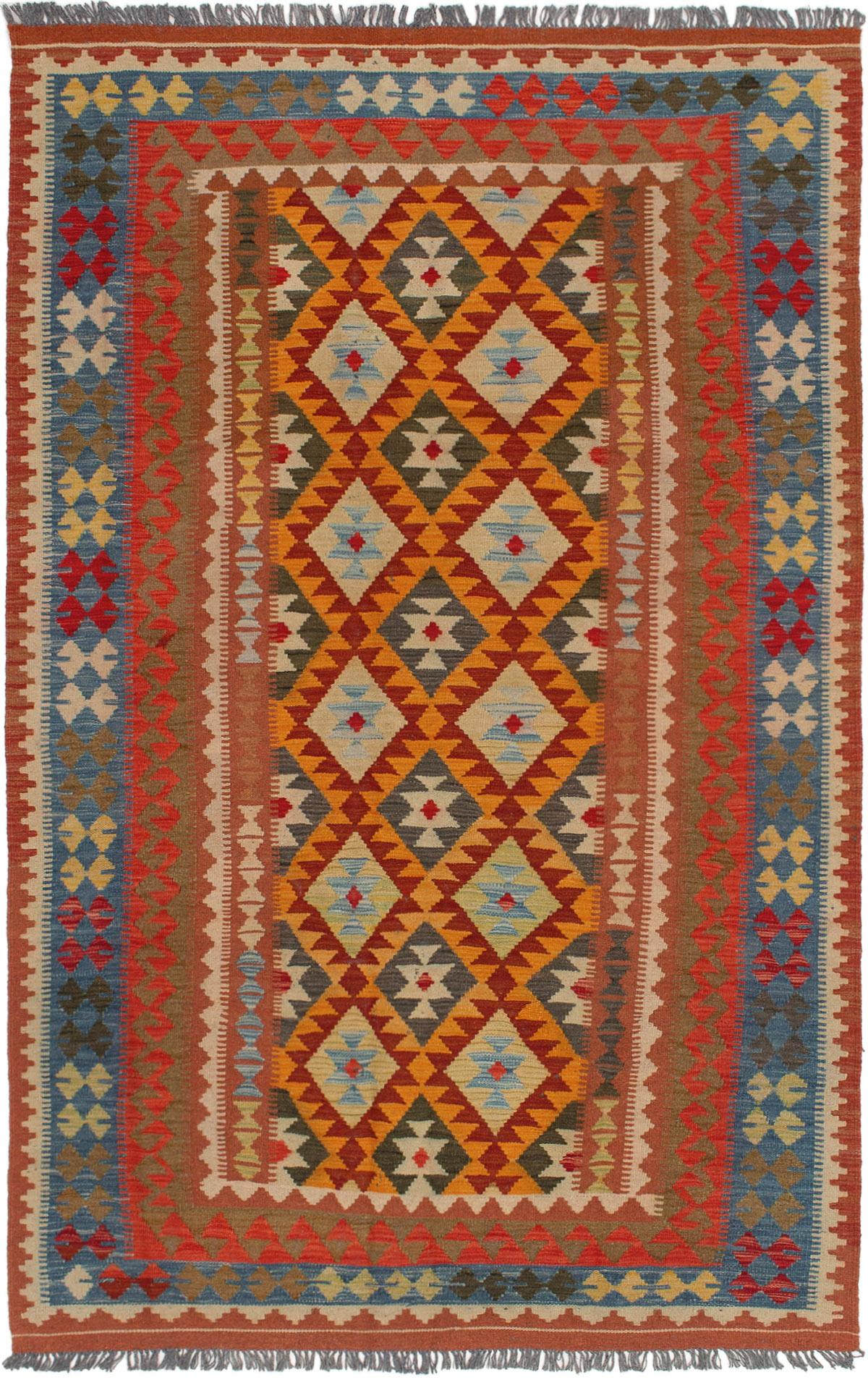 "Hand woven Kashkoli FW Dark Red, Light Orange Wool Kilim 5'3"" x 8'5"" Size: 5'3"" x 8'5"""