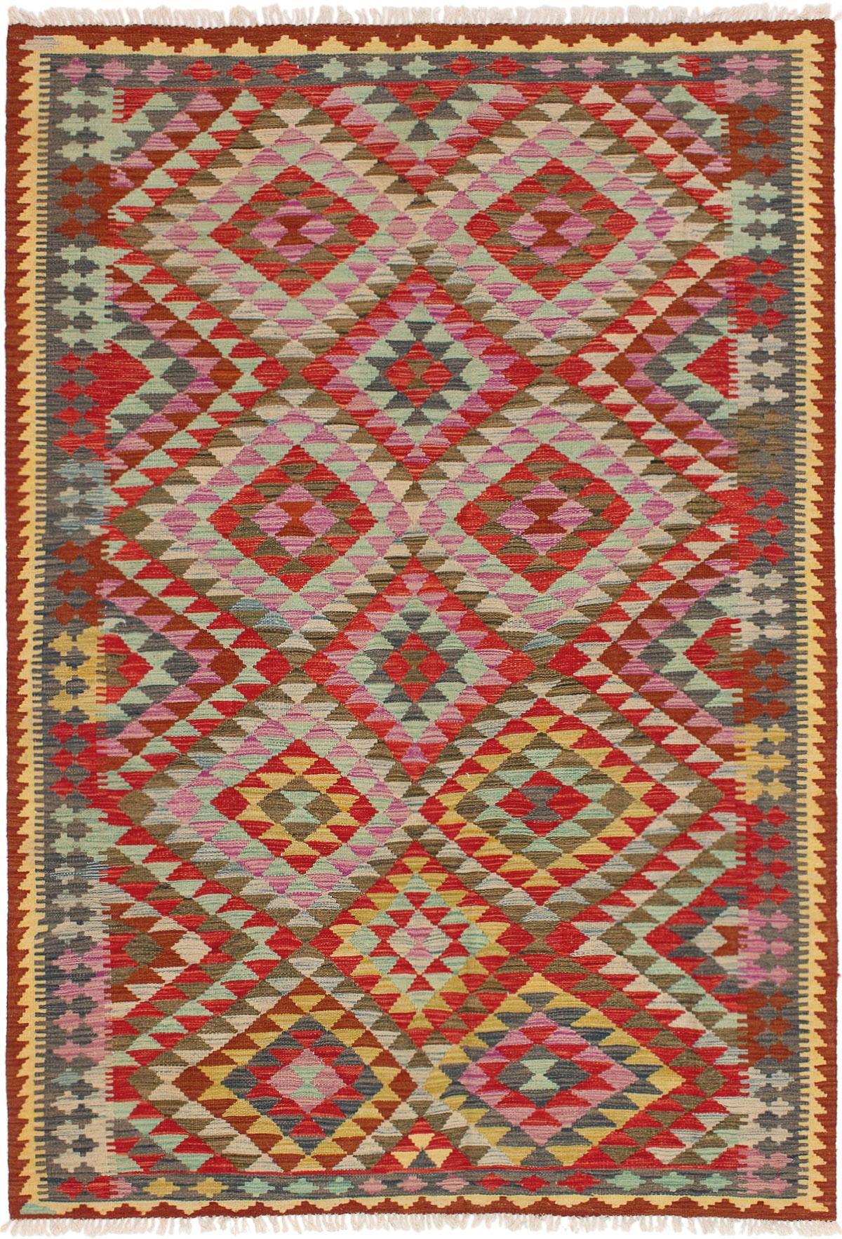 "Hand woven Kashkoli FW Red, Violet Wool Kilim 5'5"" x 8'2"" Size: 5'5"" x 8'2"""