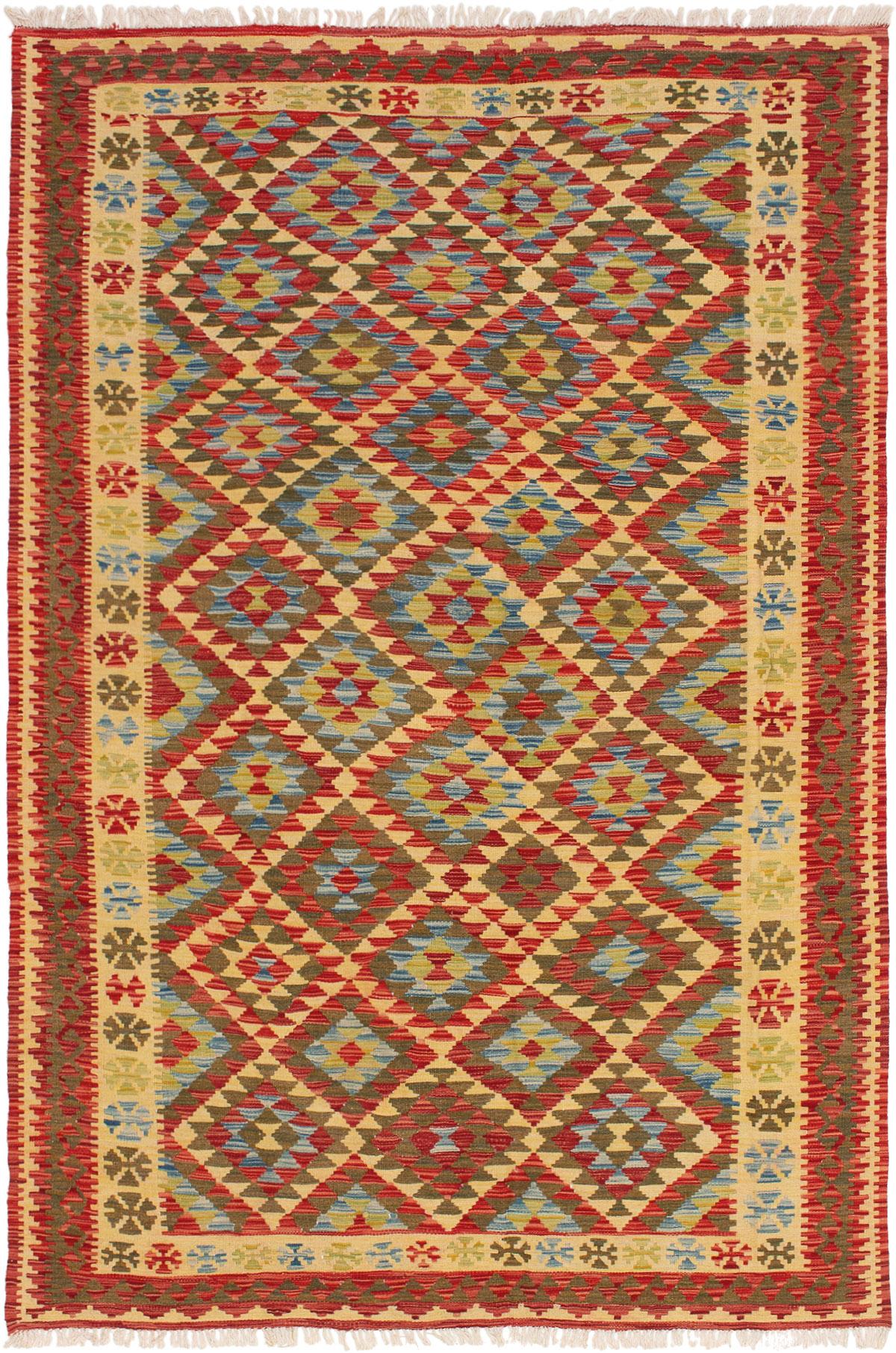 "Hand woven Kashkoli FW Red, Sky Blue Wool Kilim 5'6"" x 8'6"" Size: 5'6"" x 8'6"""