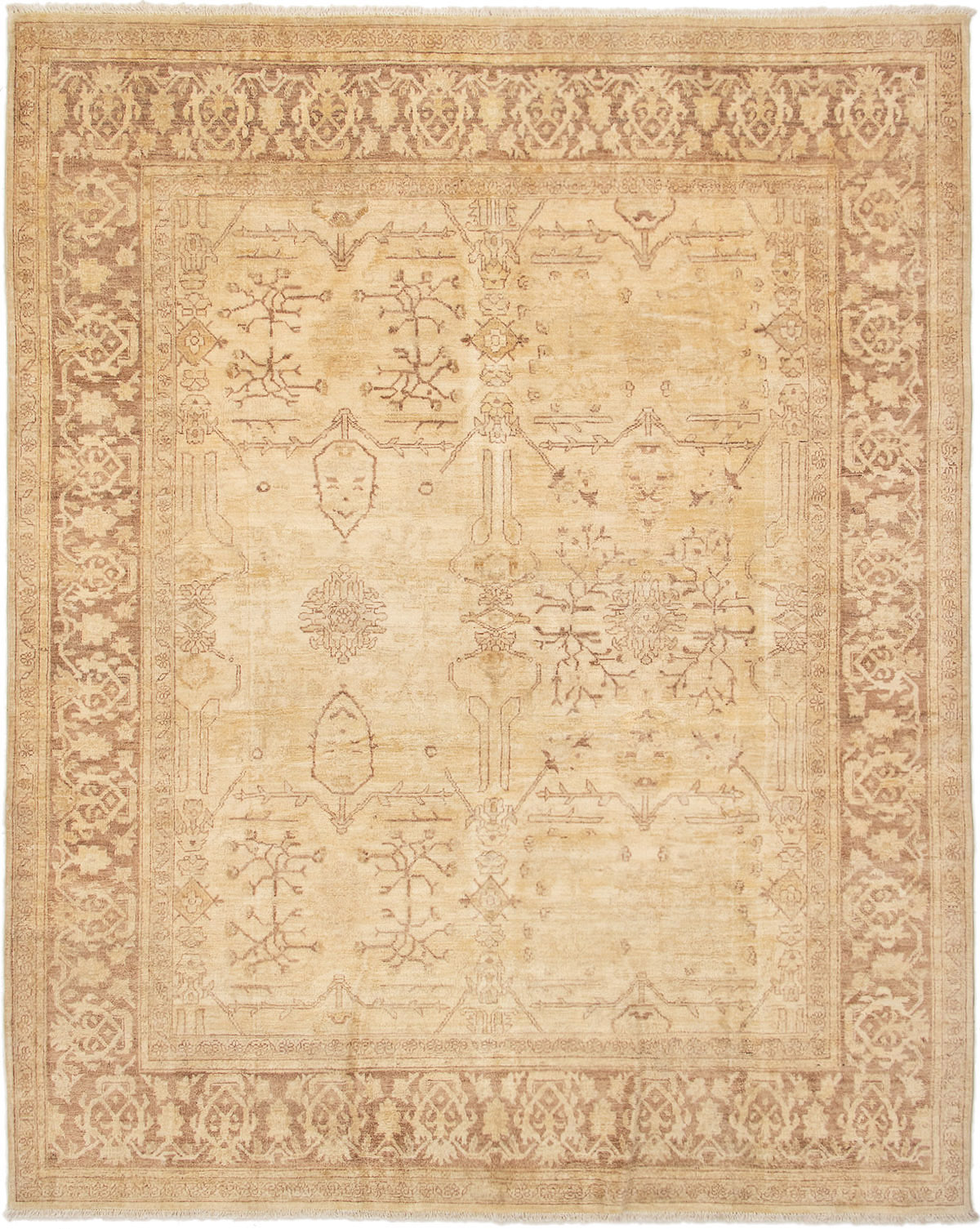 """Hand-knotted Chobi Finest Ivory Wool Rug 8'1"""" x 10'3"""" Product Image"""
