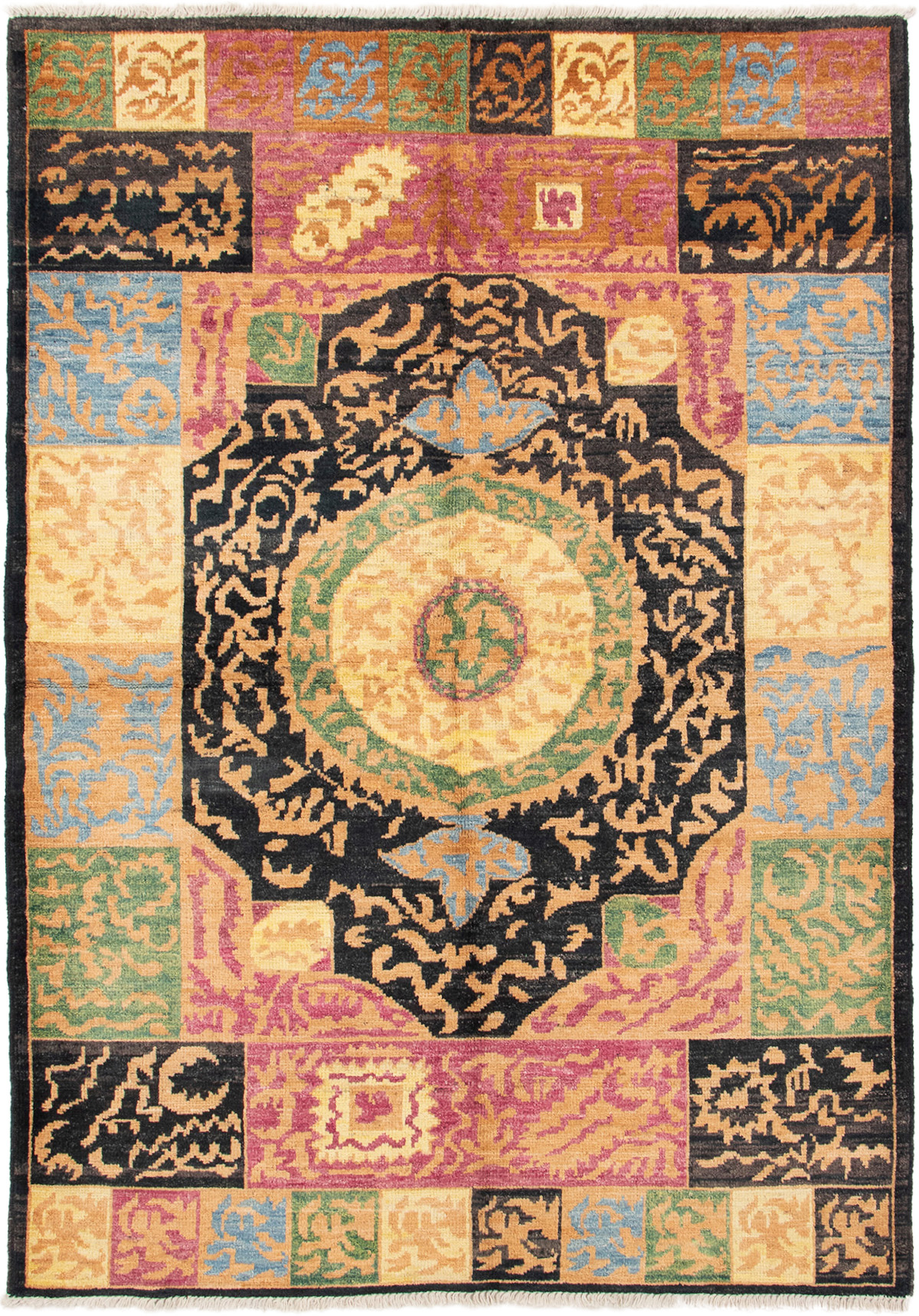 """Hand-knotted Shalimar Black, Gold Wool Rug 6'3"""" x 8'10"""" Size: 6'3"""" x 8'10"""""""