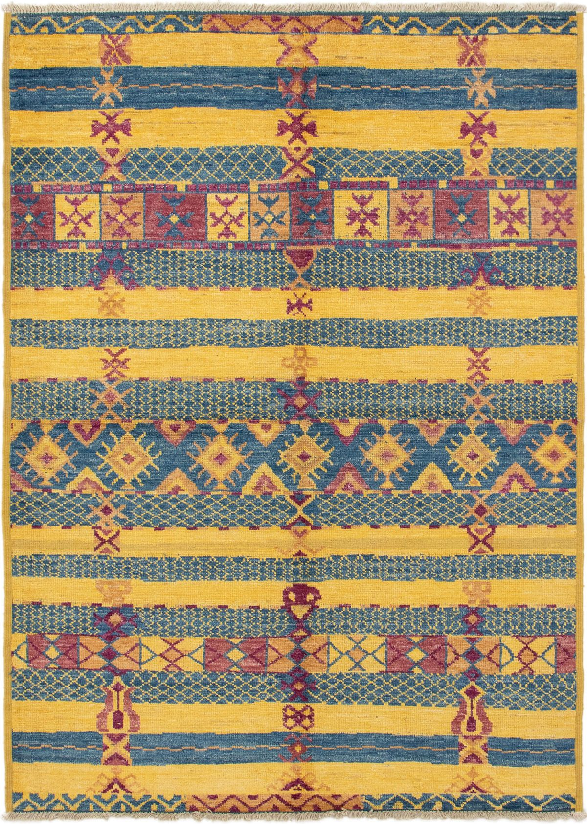 """Hand-knotted Shalimar Blue, Gold Wool Rug 6'3"""" x 8'10"""" Size: 6'3"""" x 8'10"""""""