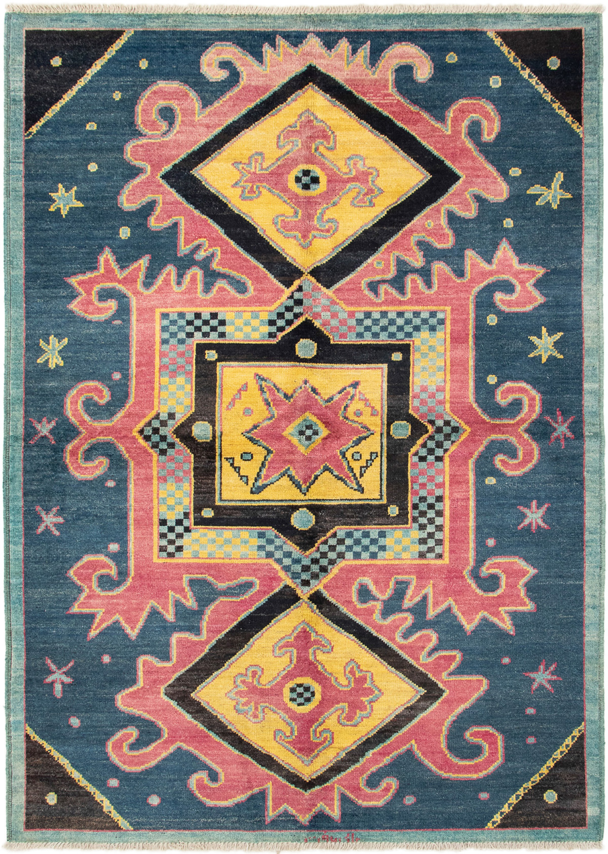 """Hand-knotted Shalimar Navy Blue, Red Wool Rug 6'3"""" x 8'10"""" Size: 6'3"""" x 8'10"""""""