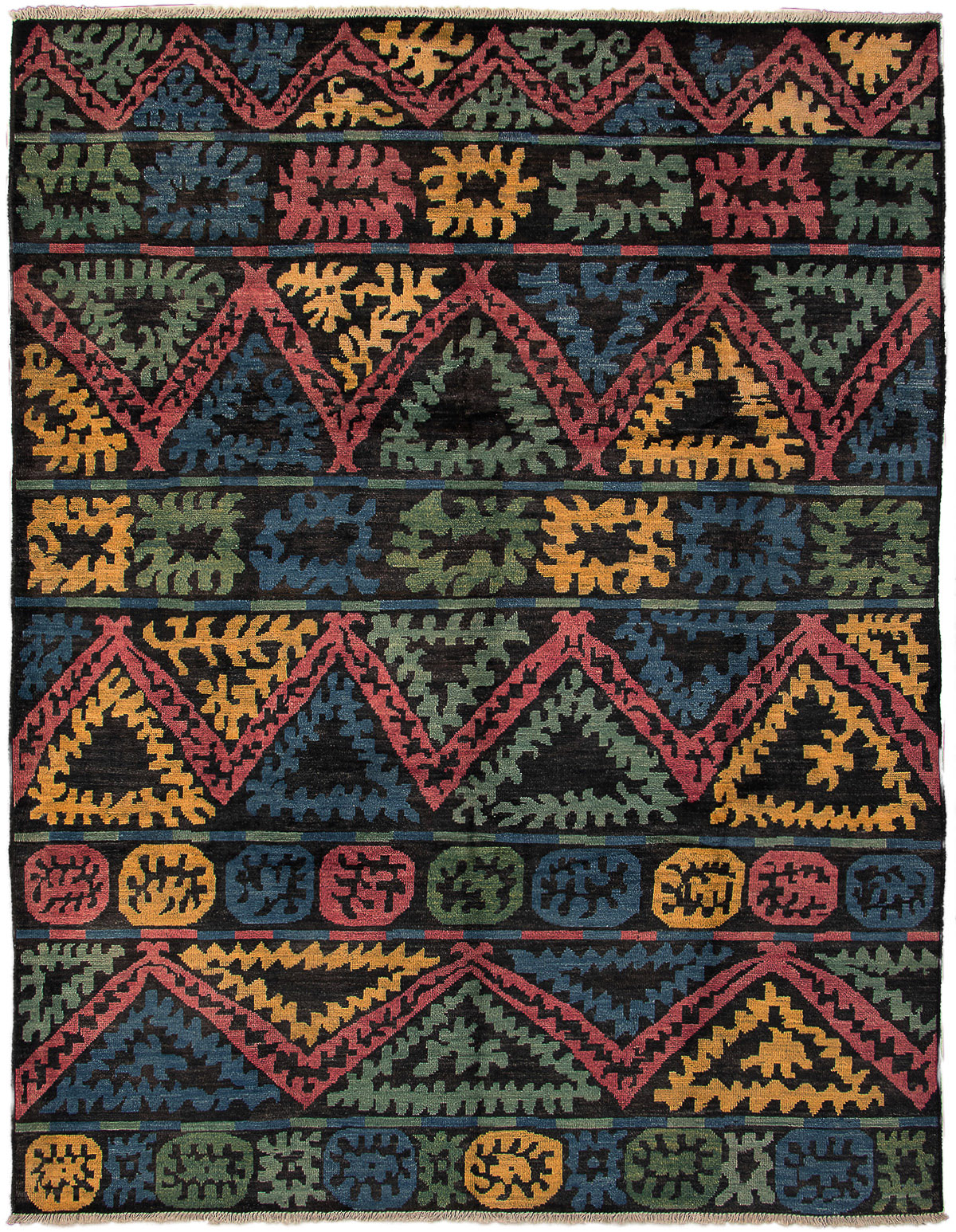 """Hand-knotted Shalimar Dark Blue, Red Wool Rug 9'0"""" x 11'7"""" Size: 9'0"""" x 11'7"""""""