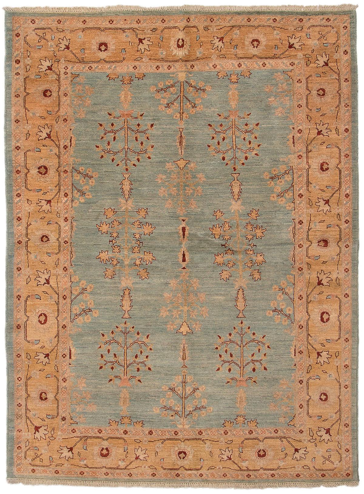 "Hand-knotted Chobi Finest Light Blue  Wool Rug 5'10"" x 7'10"" Size: 5'10"" x 7'10"""
