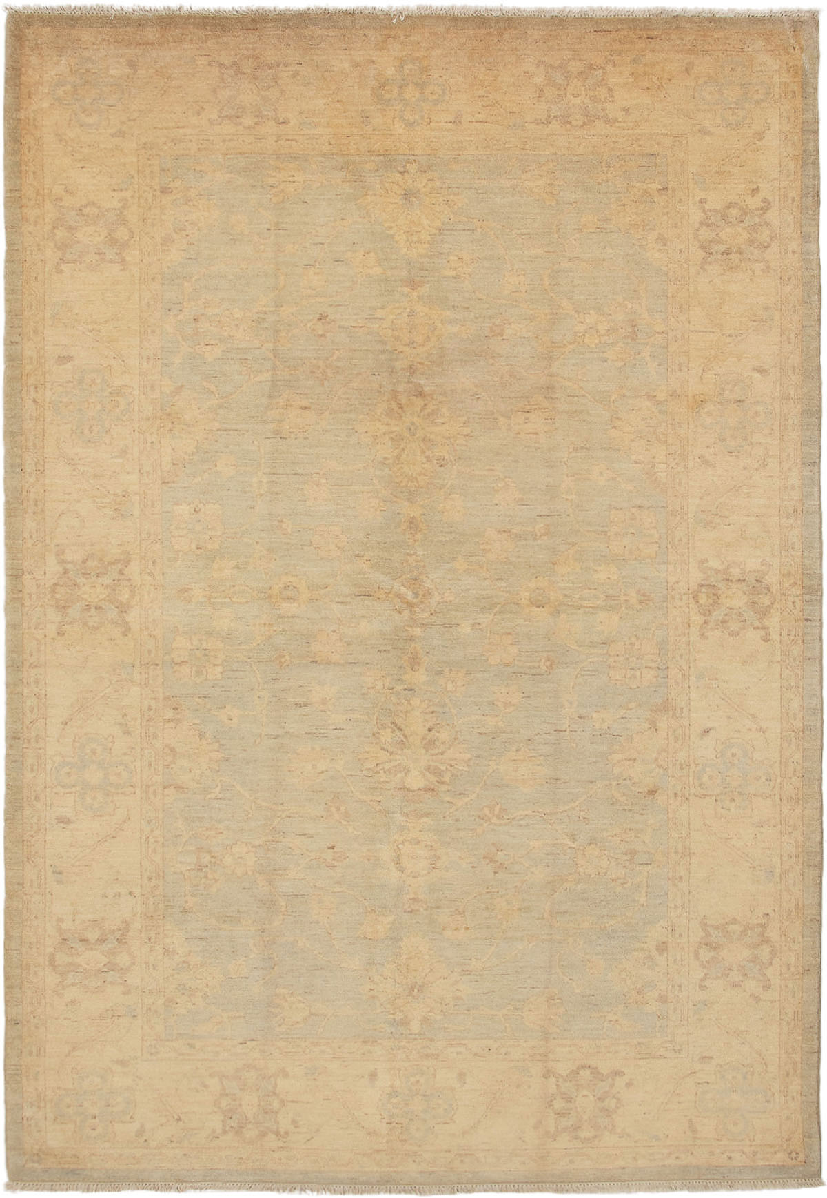 """Hand-knotted Peshawar Finest Light Blue  Wool Rug 6'1"""" x 9'0"""" Size: 6'1"""" x 9'0"""""""