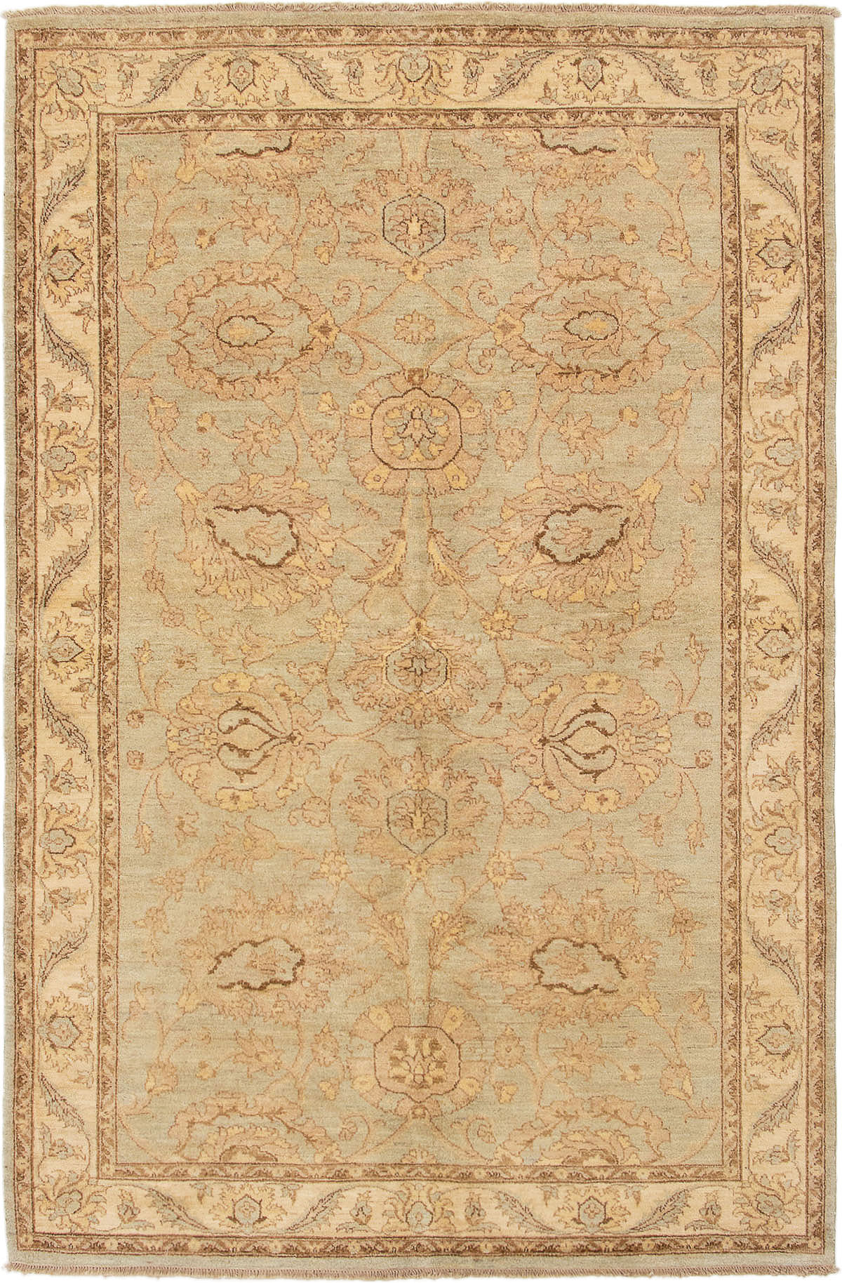 """Hand-knotted Peshawar Finest Light Blue  Wool Rug 6'1"""" x 9'3"""" Size: 6'1"""" x 9'3"""""""