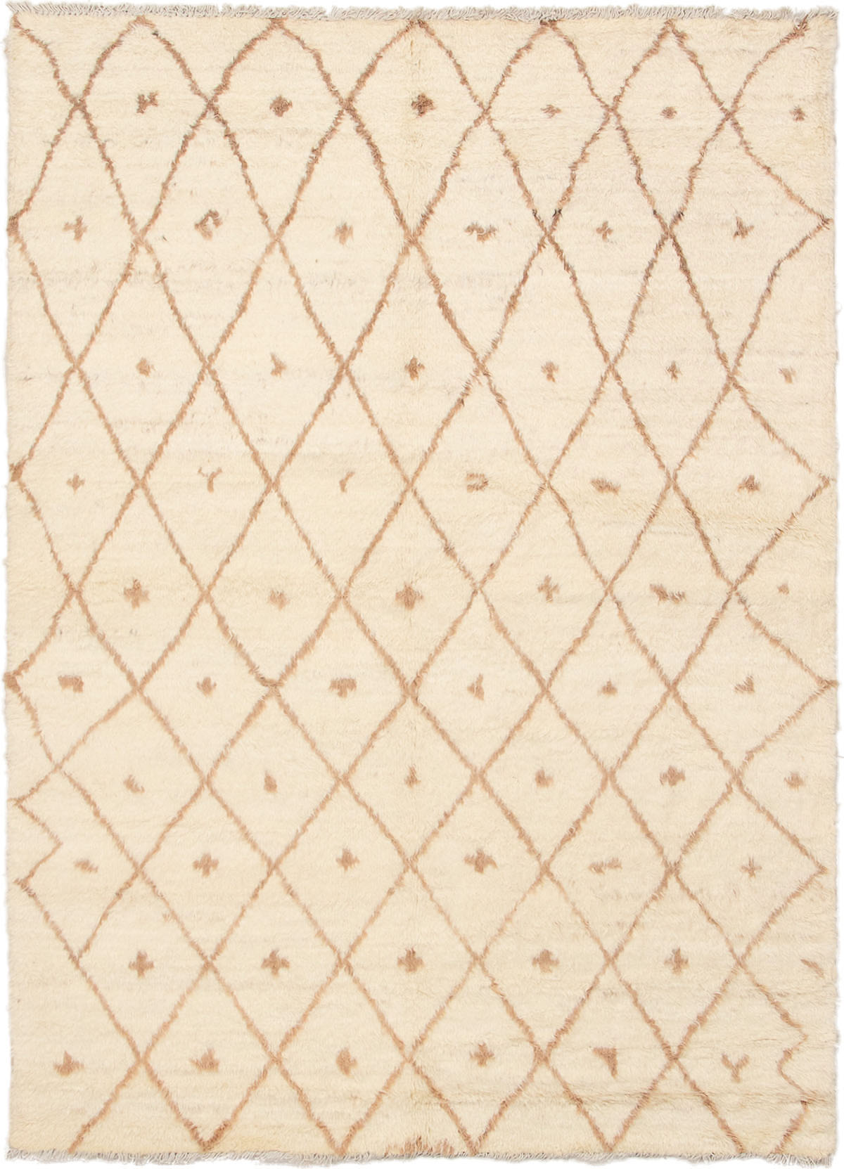 "Hand-knotted Tangier Cream Wool Rug 6'4"" x 8'10""  Size: 6'4"" x 8'10"""