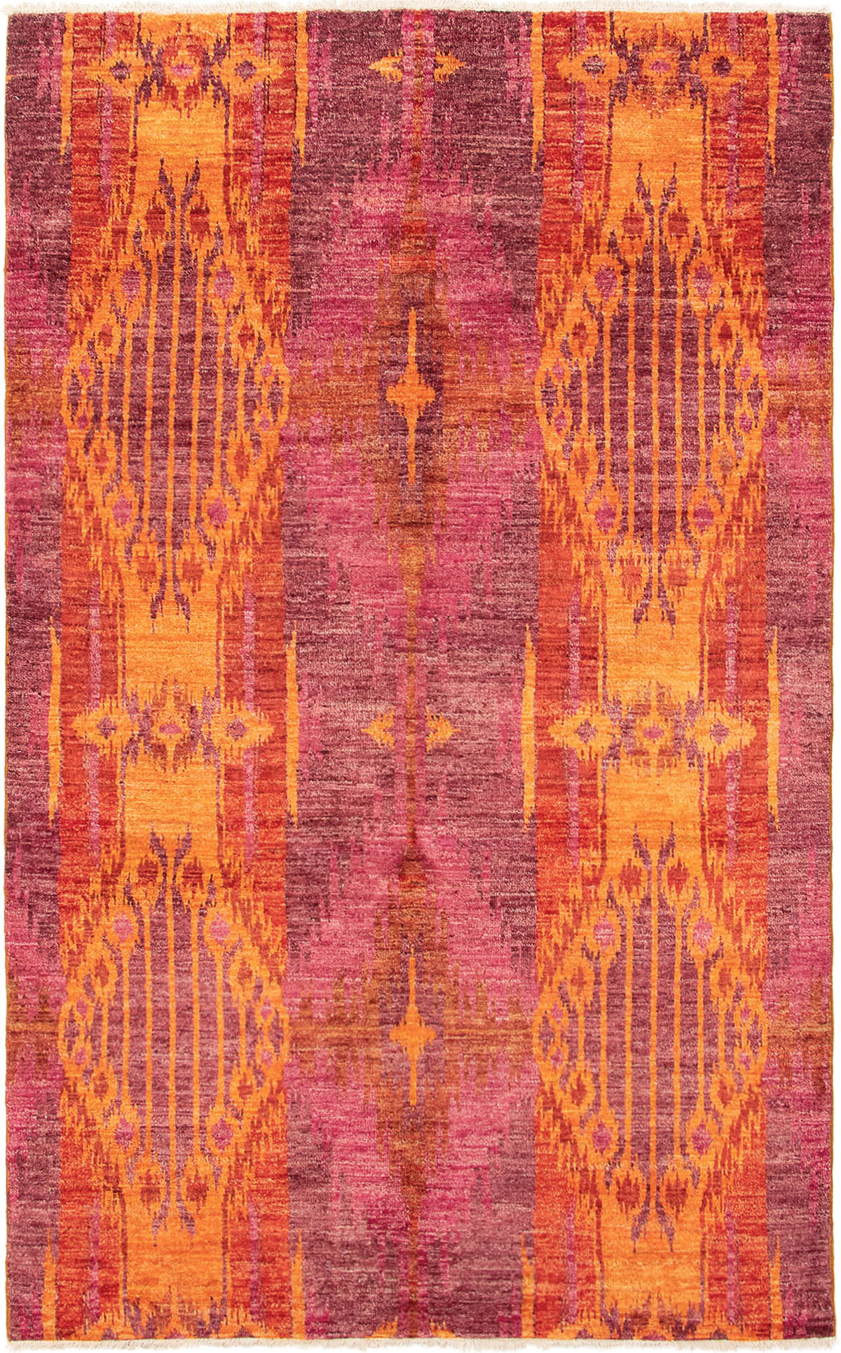 """Hand-knotted Shalimar Orange, Red Wool Rug 5'8"""" x 9'3"""" Size: 5'8"""" x 9'3"""""""