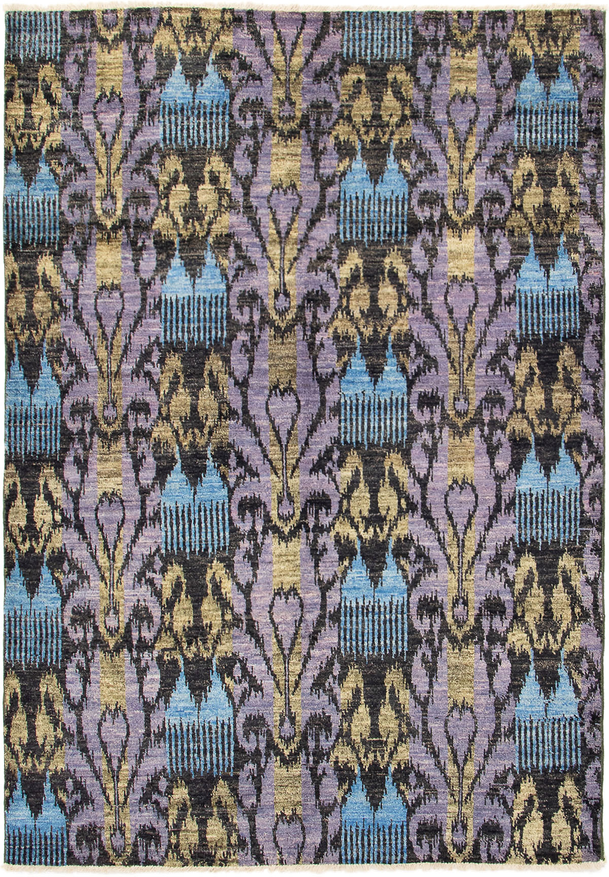 """Hand-knotted Shalimar Black, Sky Blue Wool Rug 6'1"""" x 8'9"""" Size: 6'1"""" x 8'9"""""""