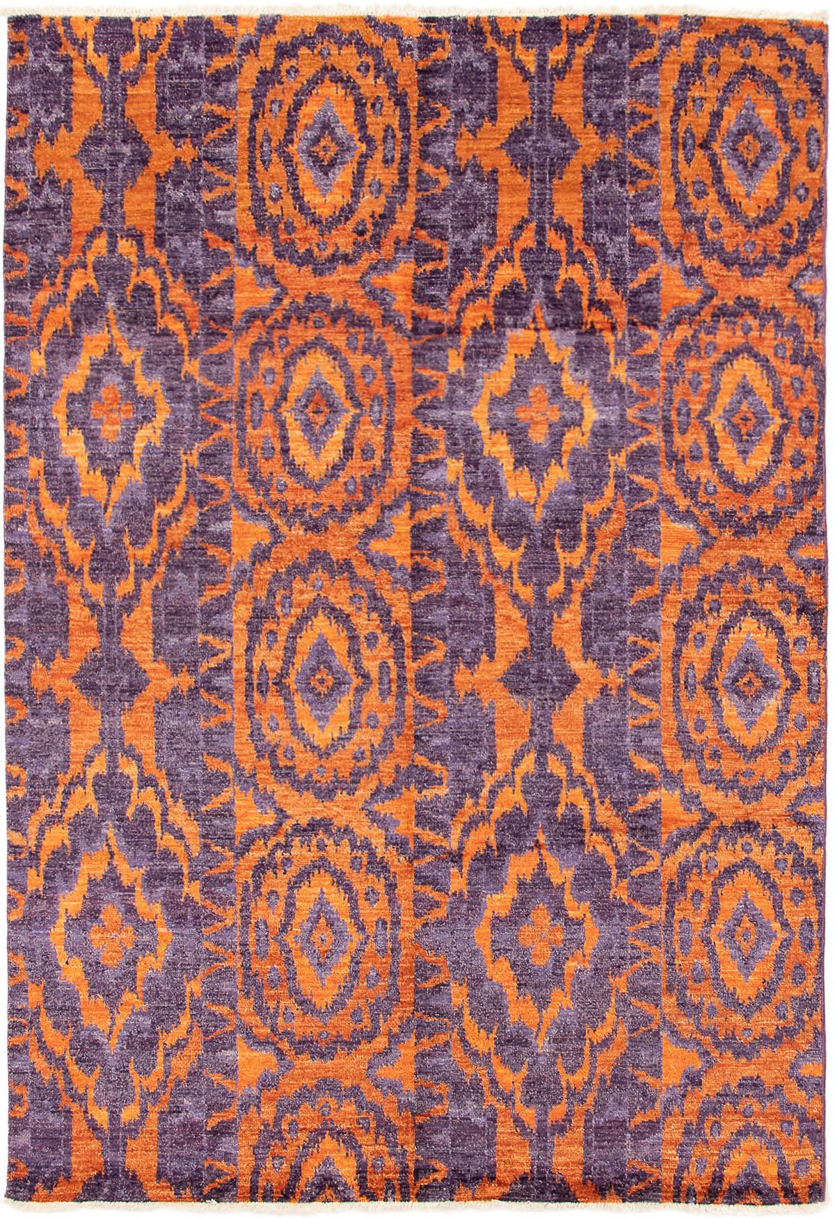 "Hand-knotted Shalimar Orange, Purple Wool Rug 6'2"" x 9'1"" Size: 6'2"" x 9'1"""