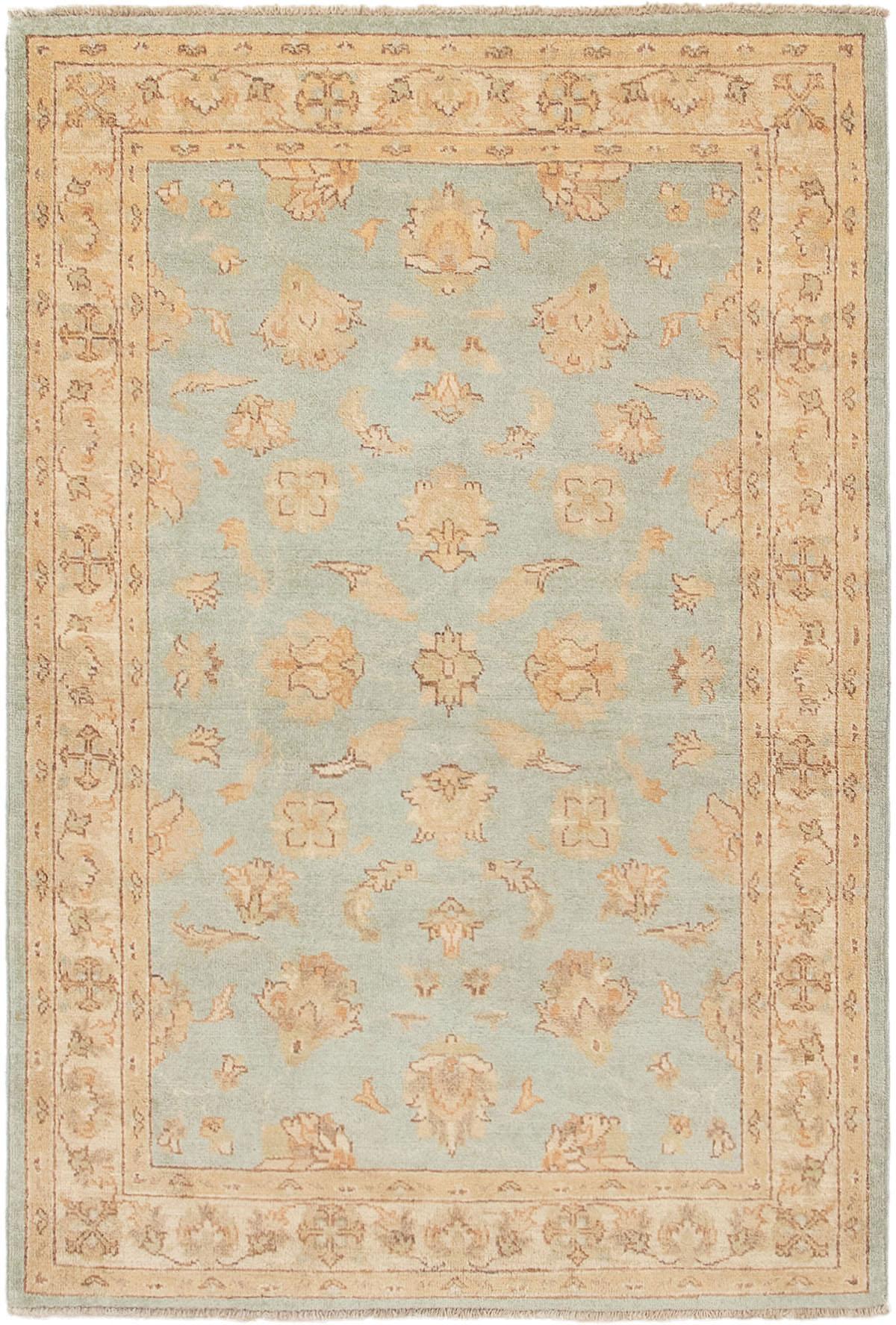 "Hand-knotted Chobi Finest Light Blue  Wool Rug 4'0"" x 5'10"" Size: 4'0"" x 5'10"""
