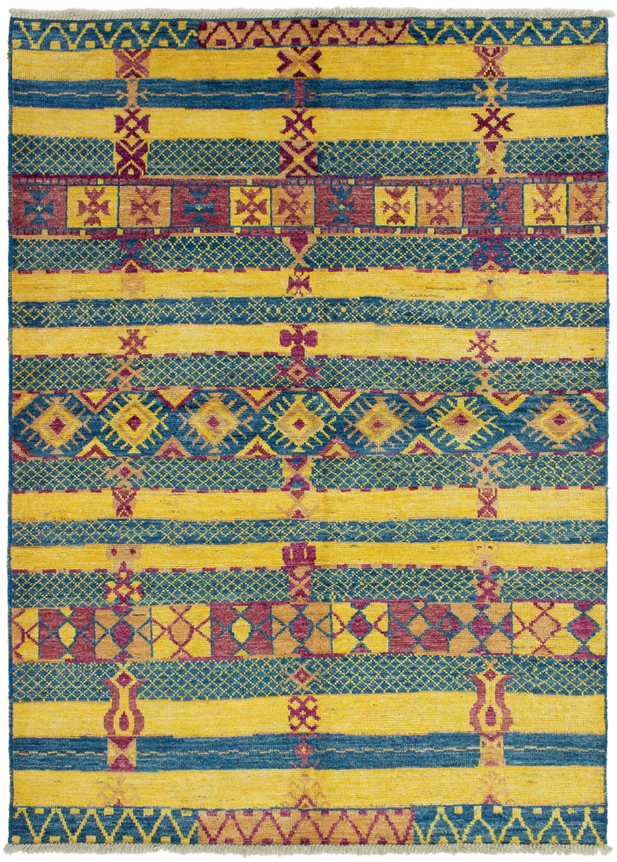 """Hand-knotted Shalimar Blue, Gold Wool Rug 6'7"""" x 9'3"""" Size: 6'7"""" x 9'3"""""""